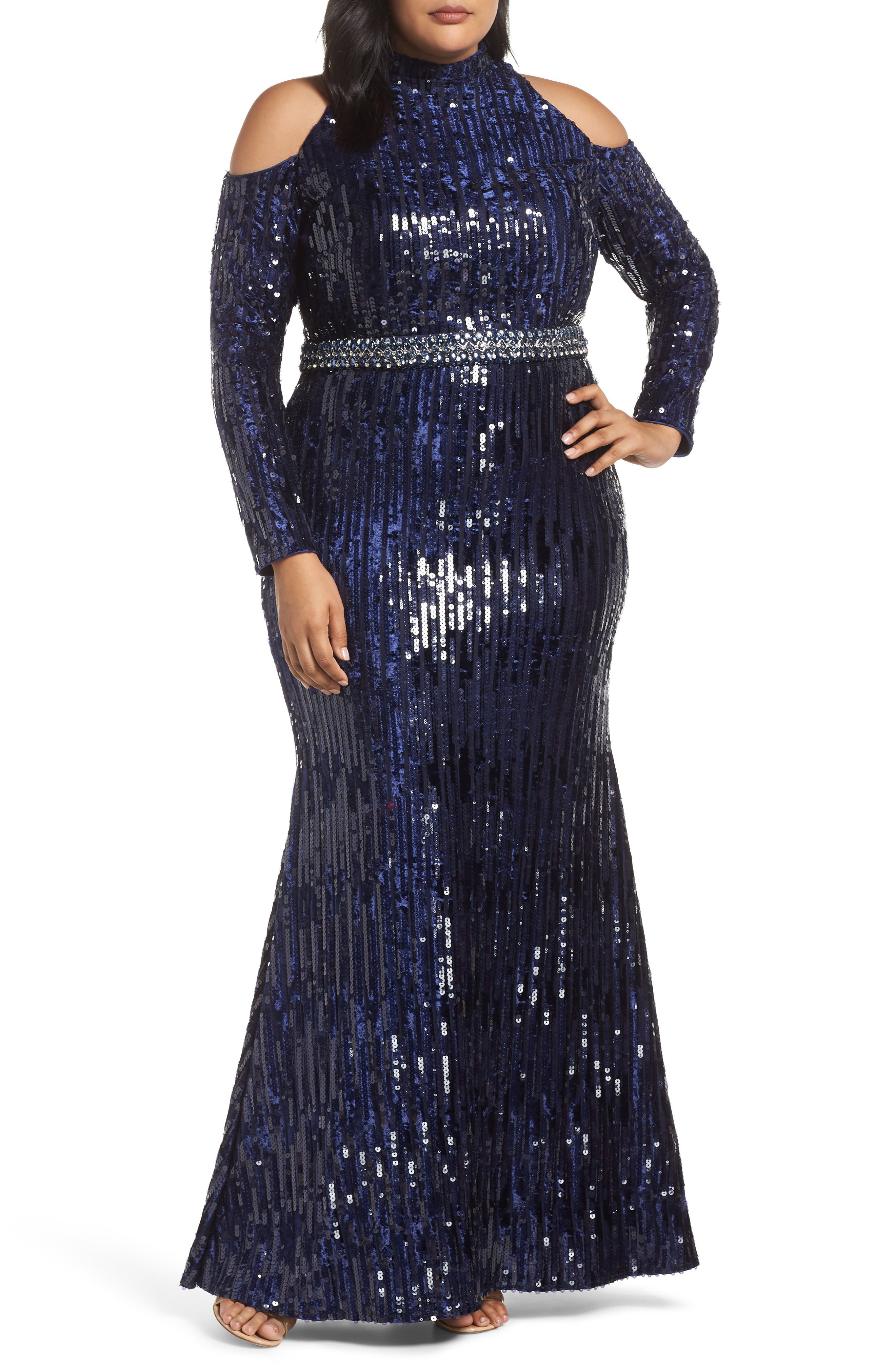 Plus Size MAC Duggal Neck High Neck Sequin Trumpet Gown