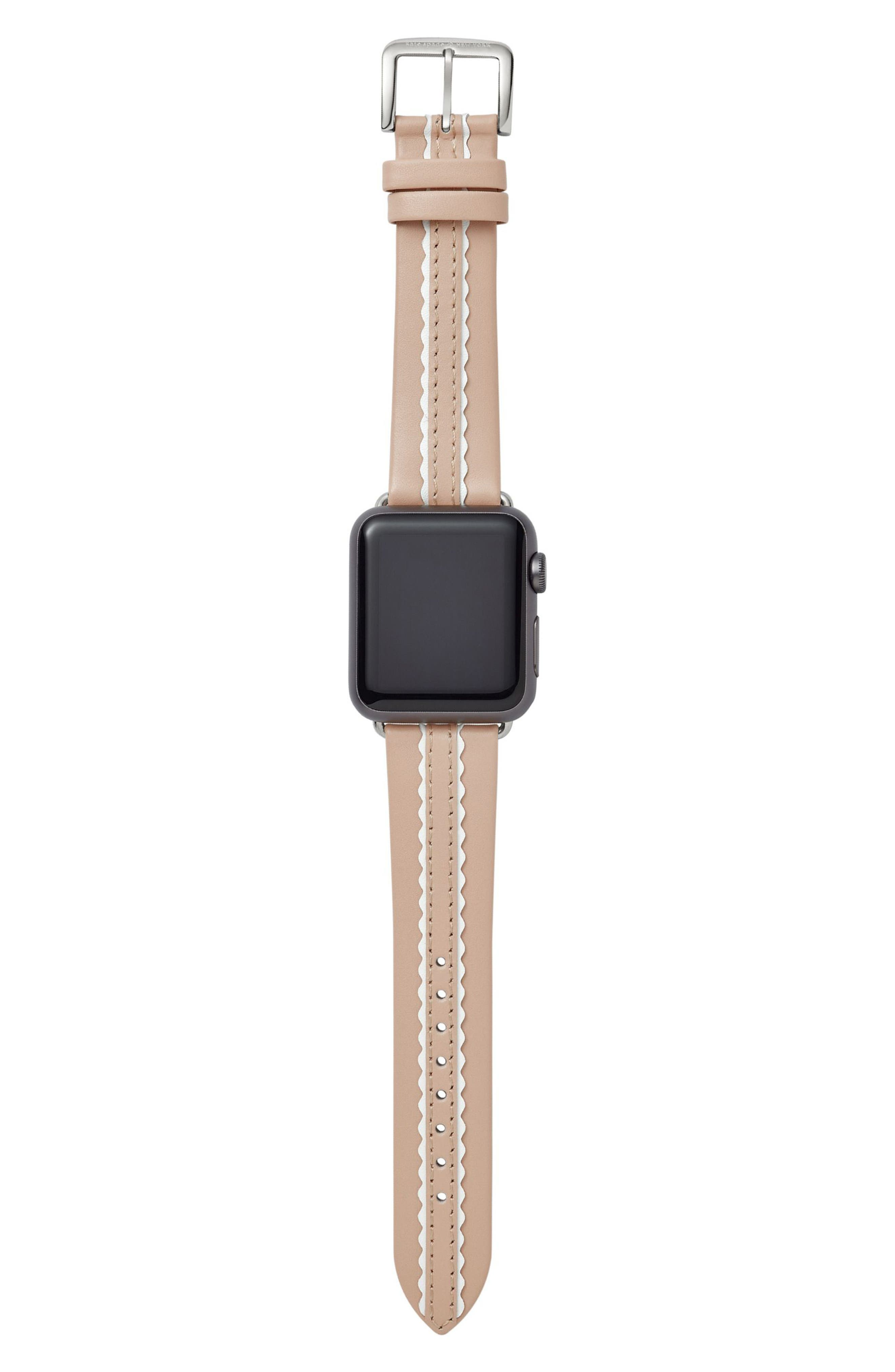 KATE SPADE NEW YORK, Apple Watch strap, 38mm, Alternate thumbnail 3, color, NUDE/ WHITE