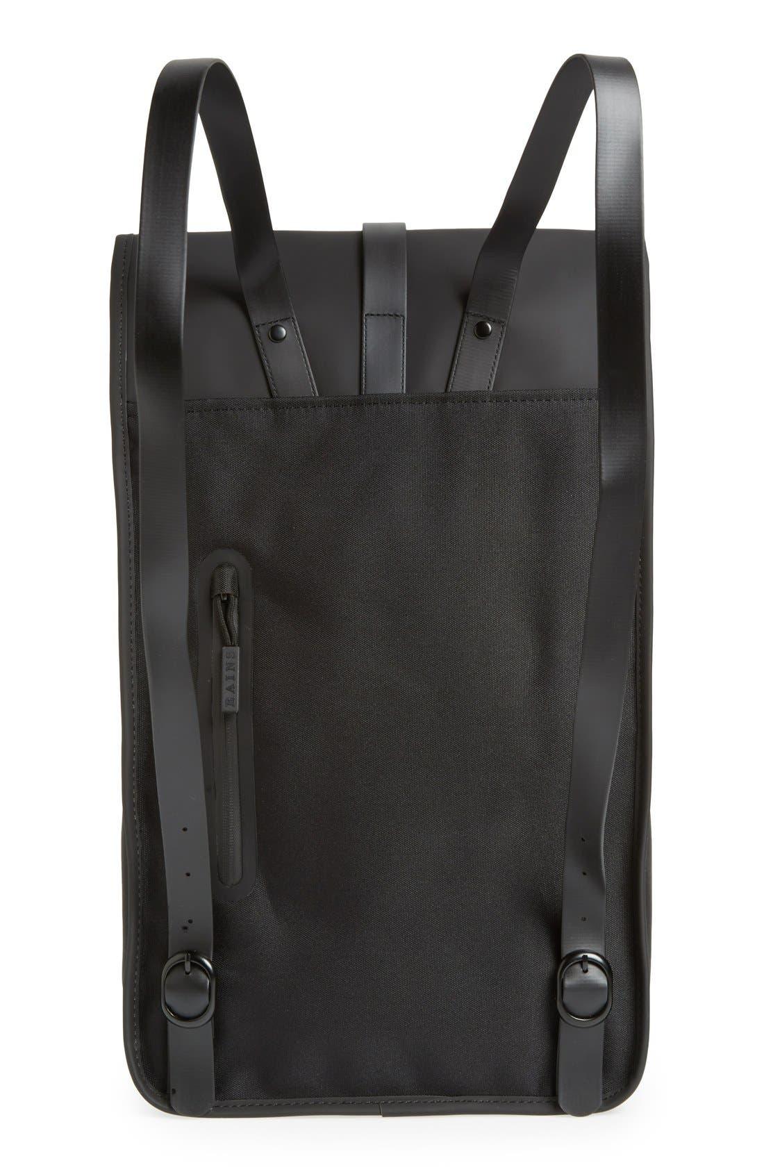 RAINS, Waterproof Backpack, Alternate thumbnail 8, color, BLACK