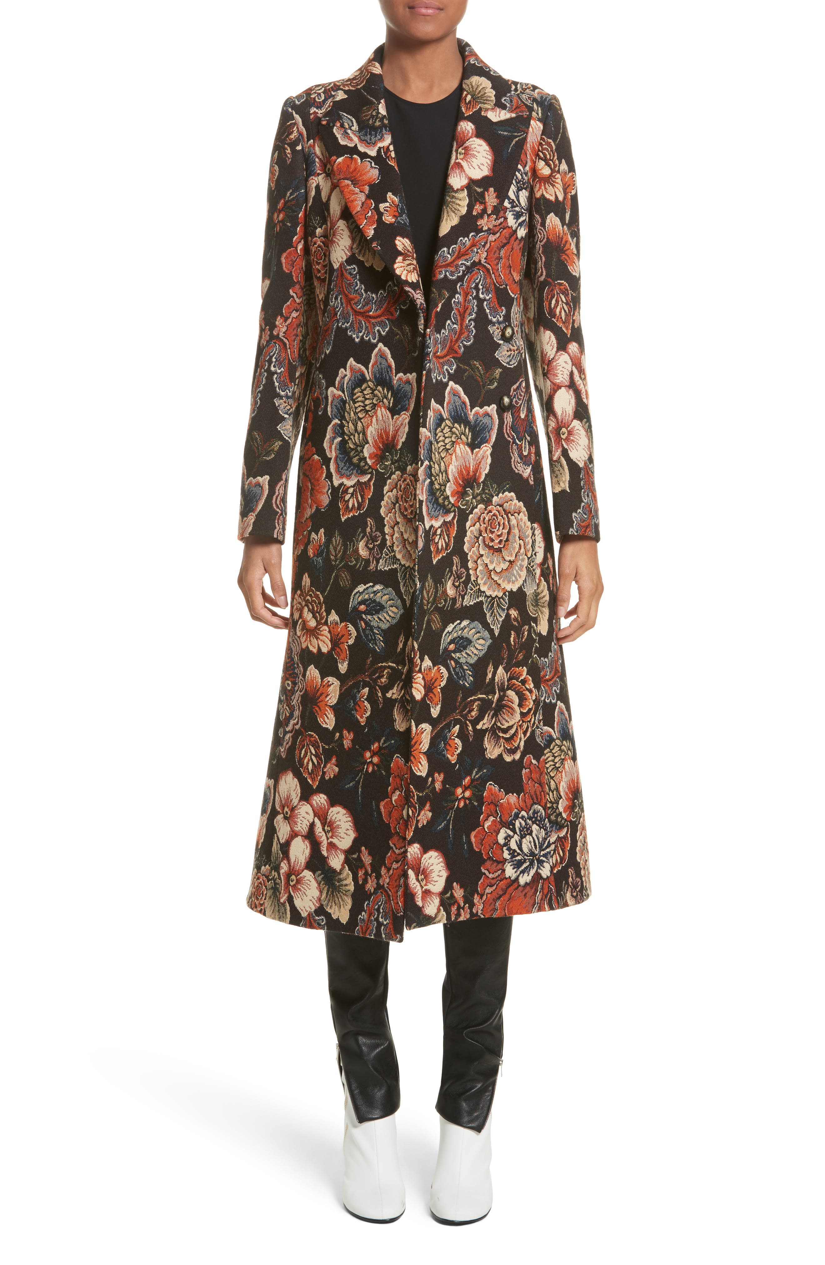STELLA MCCARTNEY, Floral Tapestry Long Coat, Main thumbnail 1, color, 960