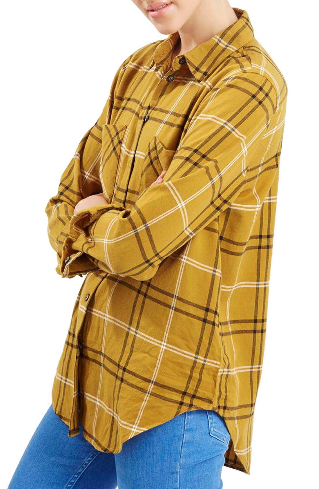 TOPSHOP 'Billie' Check Button FrontBoyfriend Shirt, Main, color, 701