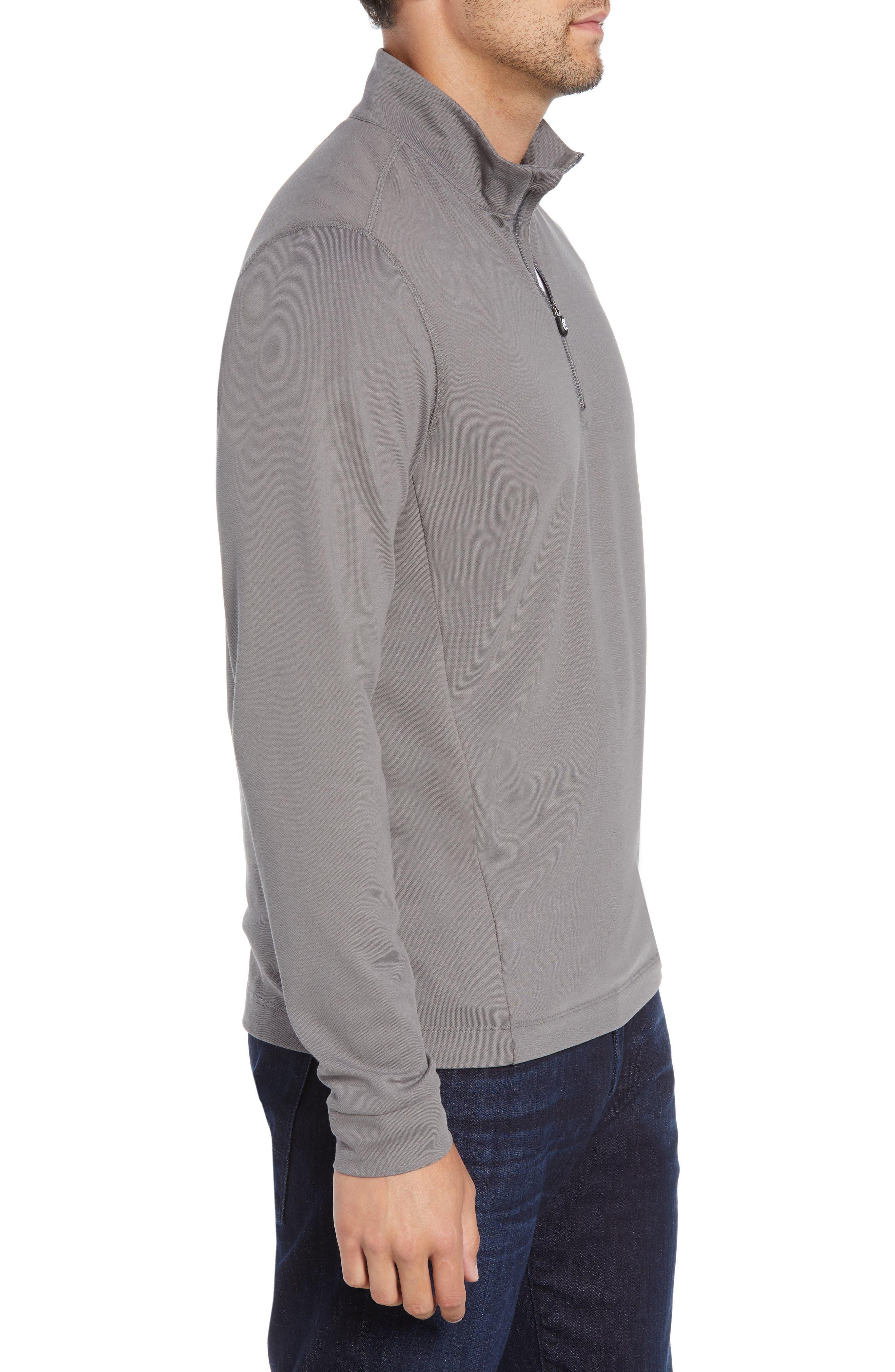 CUTTER & BUCK, Advantage Regular Fit DryTec Mock Neck Pullover, Alternate thumbnail 3, color, ELEMENTAL GREY