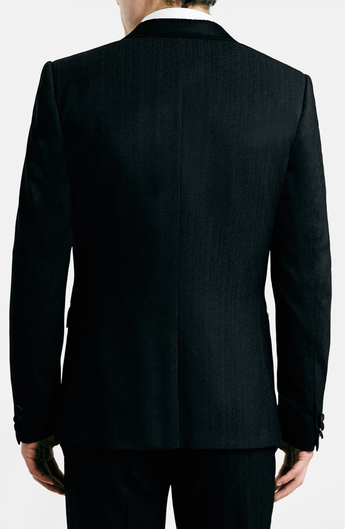 TOPMAN, Black Textured Skinny Fit Tuxedo Jacket, Alternate thumbnail 5, color, 001