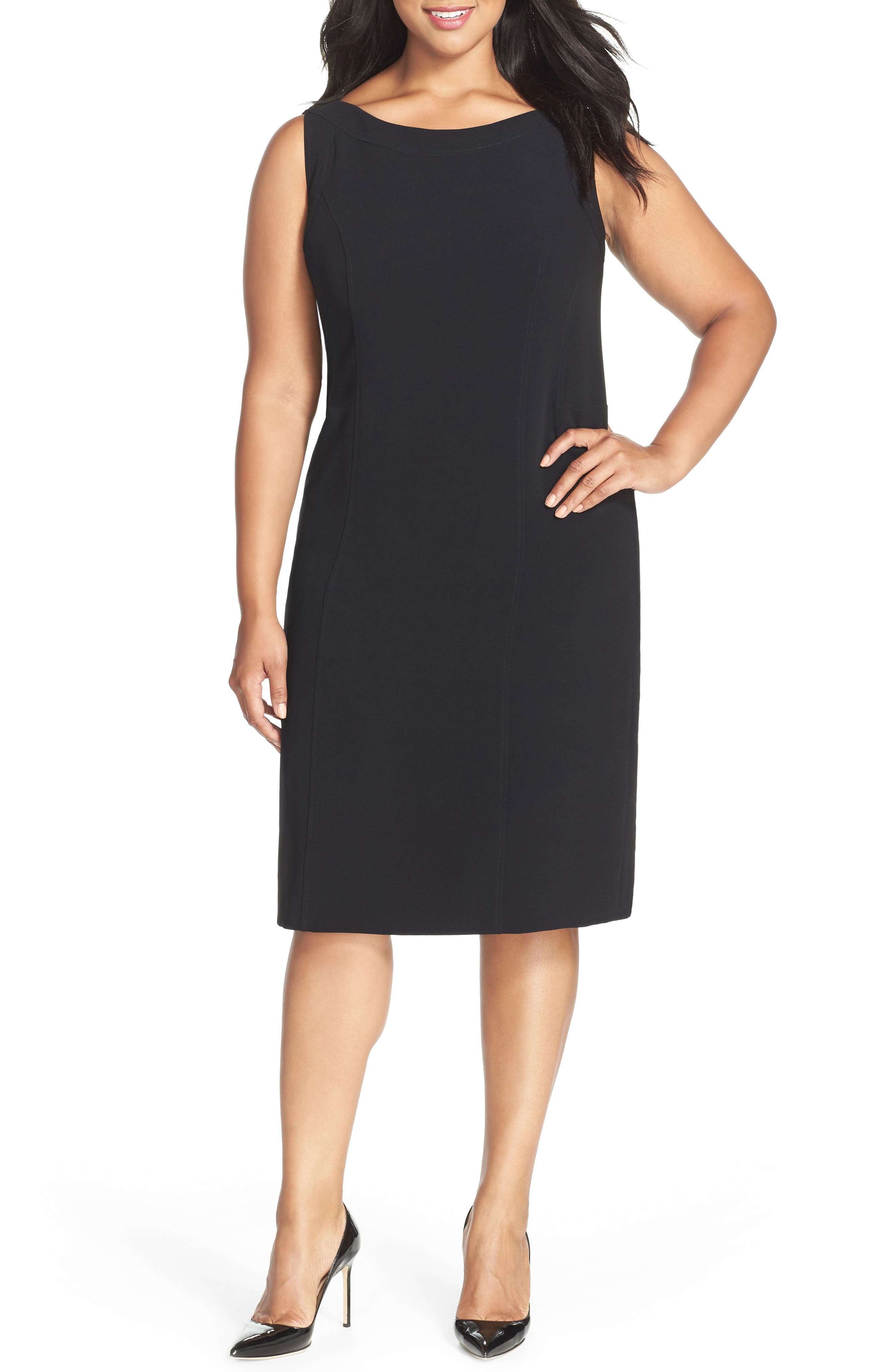 LOUBEN Sleeveless Suiting Sheath Dress, Main, color, BLACK