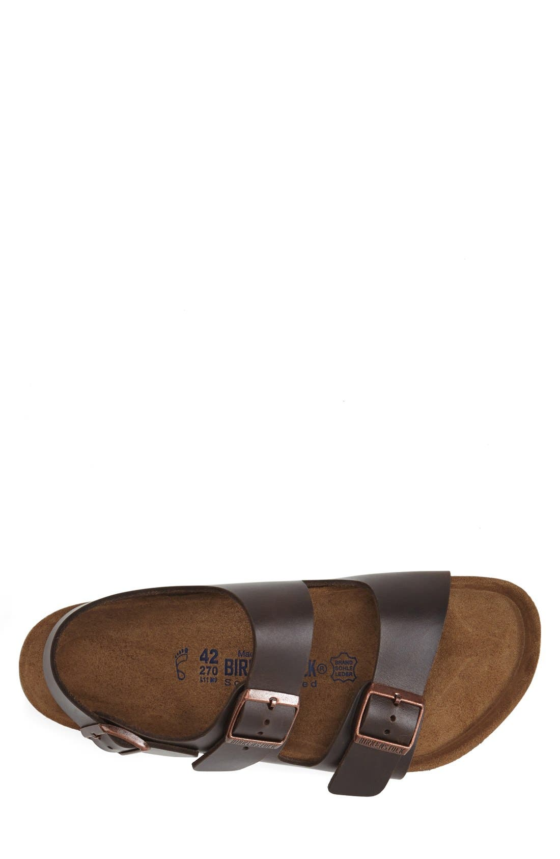 BIRKENSTOCK, 'Milano' Soft Footbed Sandal, Alternate thumbnail 3, color, AMALFI BROWN