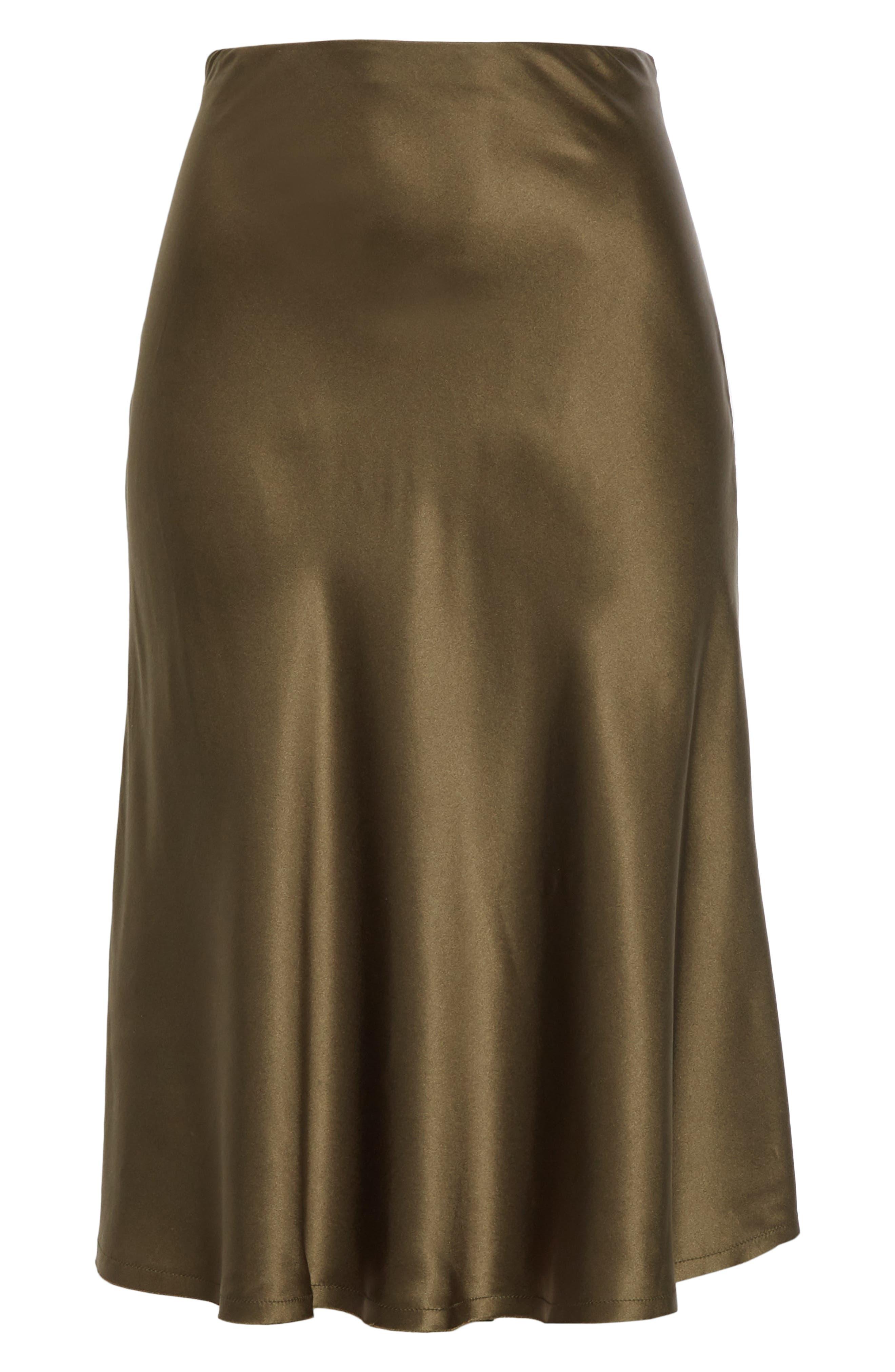 NILI LOTAN, Lane Silk Skirt, Alternate thumbnail 6, color, ARMY GREEN