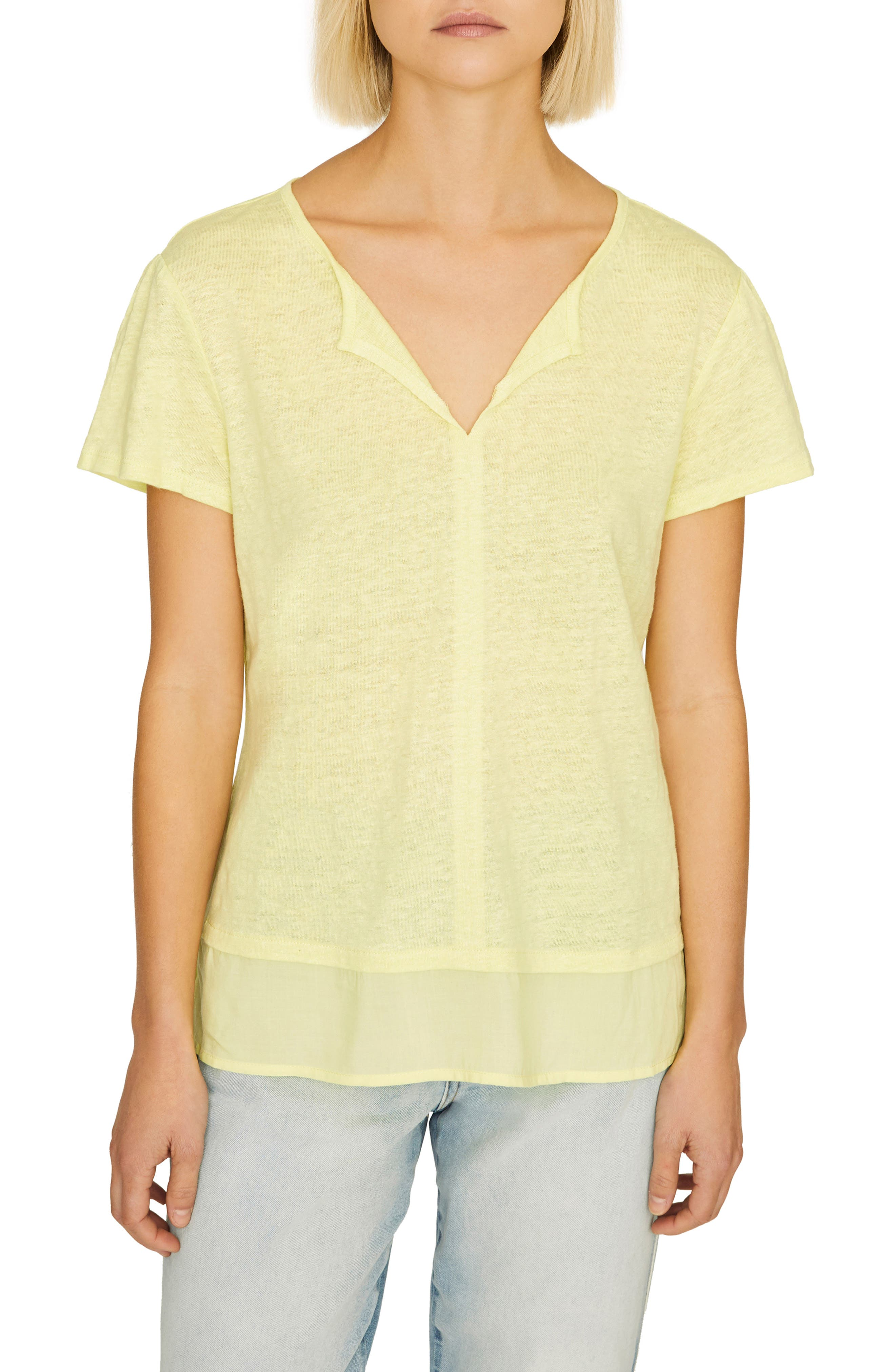 SANCTUARY Uptown Linen Tee, Main, color, ICE LIME