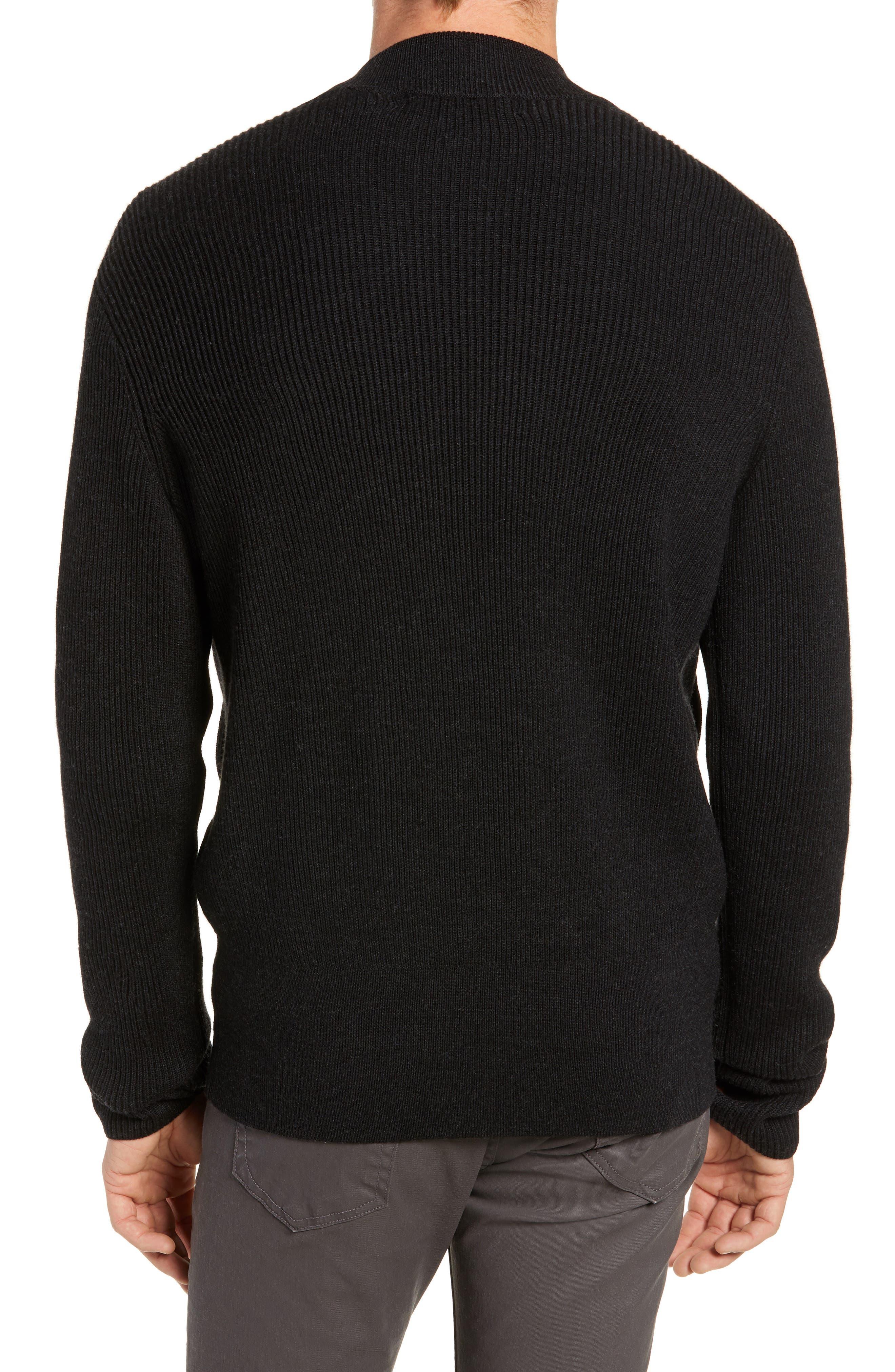 RAG & BONE, Andrew Zip Front Merino Wool Sweater, Alternate thumbnail 2, color, BLACK HEATHER