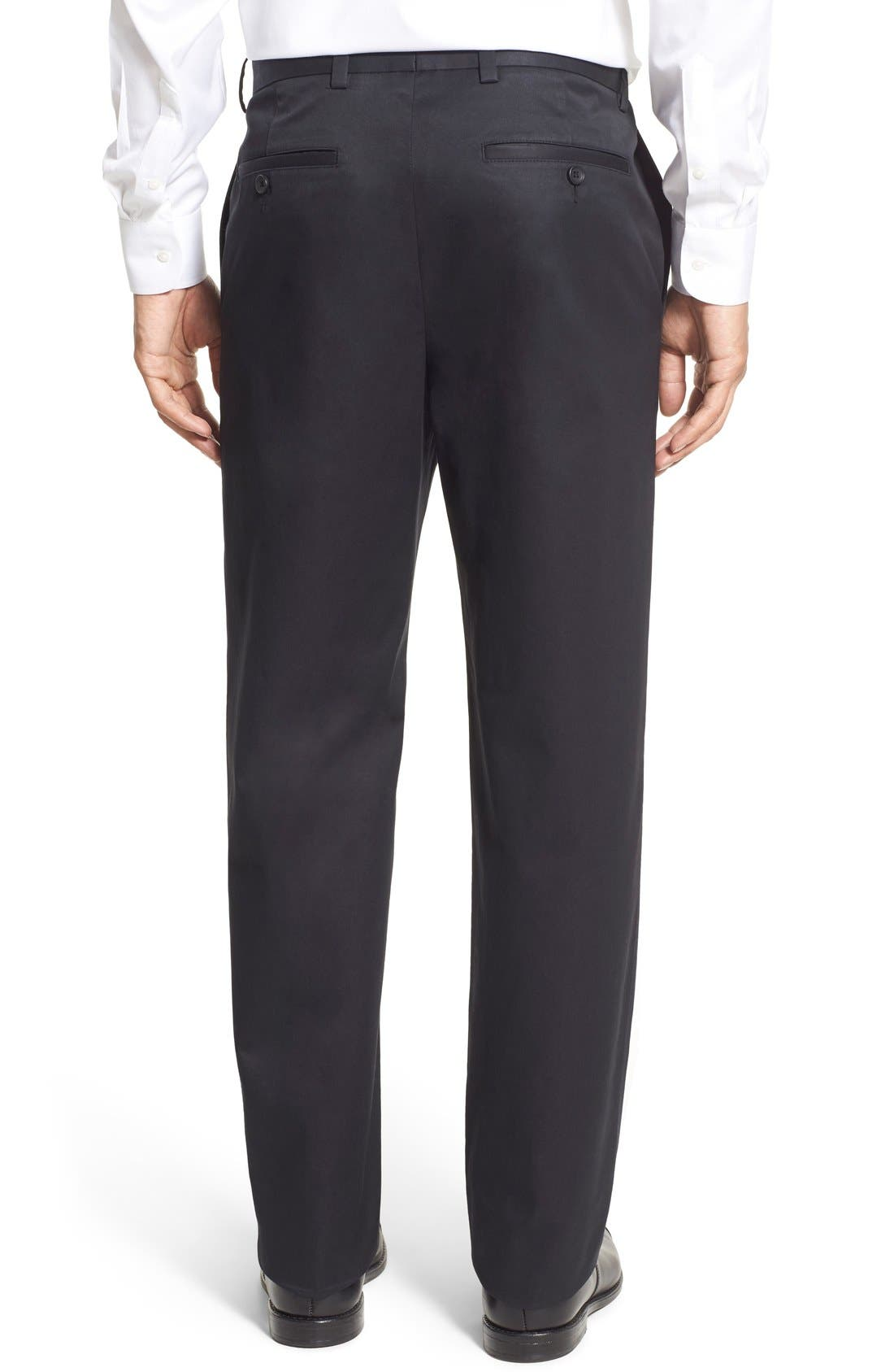 NORDSTROM MEN'S SHOP, Smartcare<sup>™</sup> Classic Supima<sup>®</sup> Cotton Flat Front Trousers, Alternate thumbnail 7, color, BLACK CAVIAR
