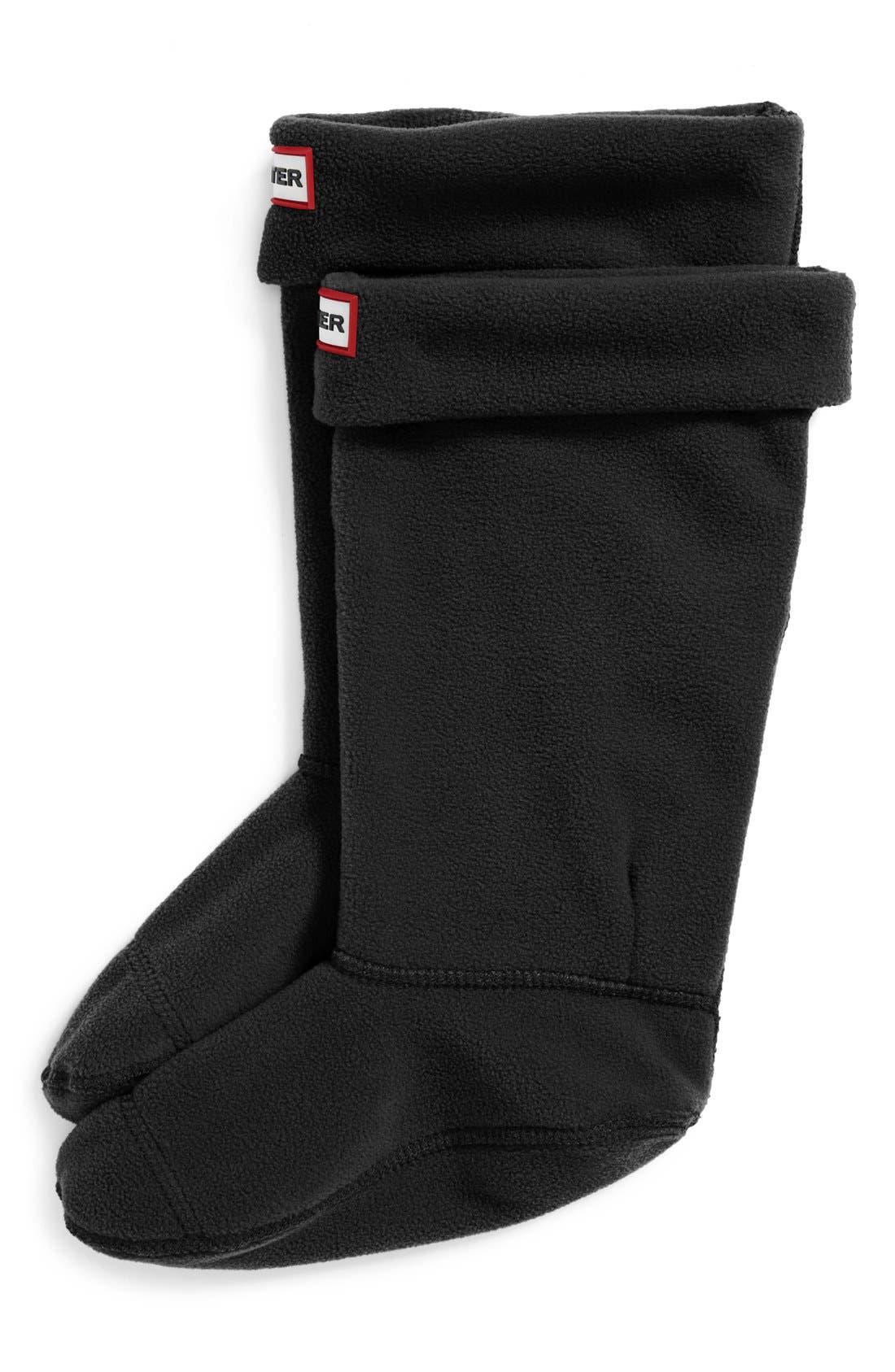 HUNTER Fleece Welly Boot Socks, Main, color, BLACK