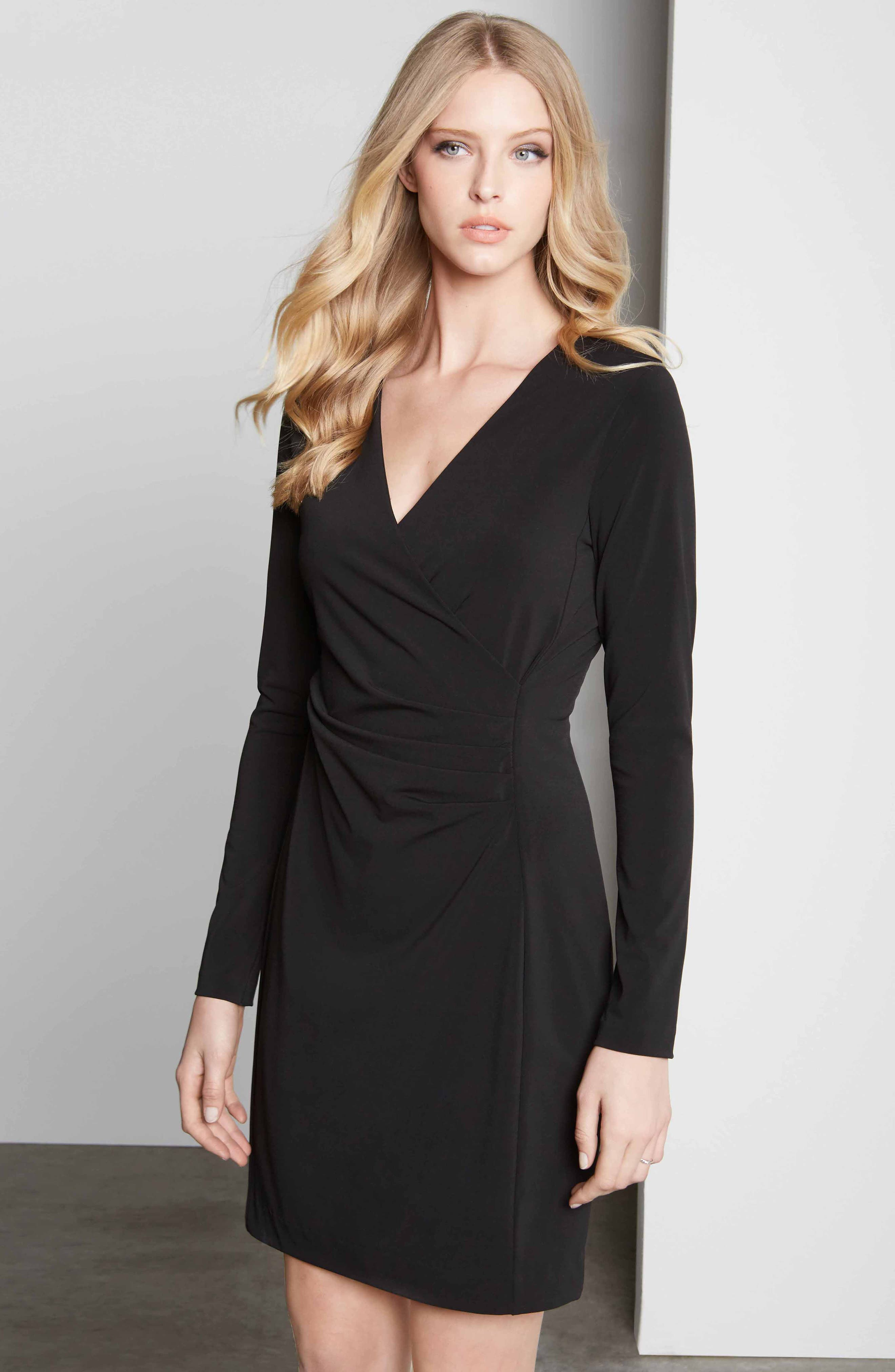 KAREN KANE, Faux Wrap Dress, Alternate thumbnail 3, color, BLACK