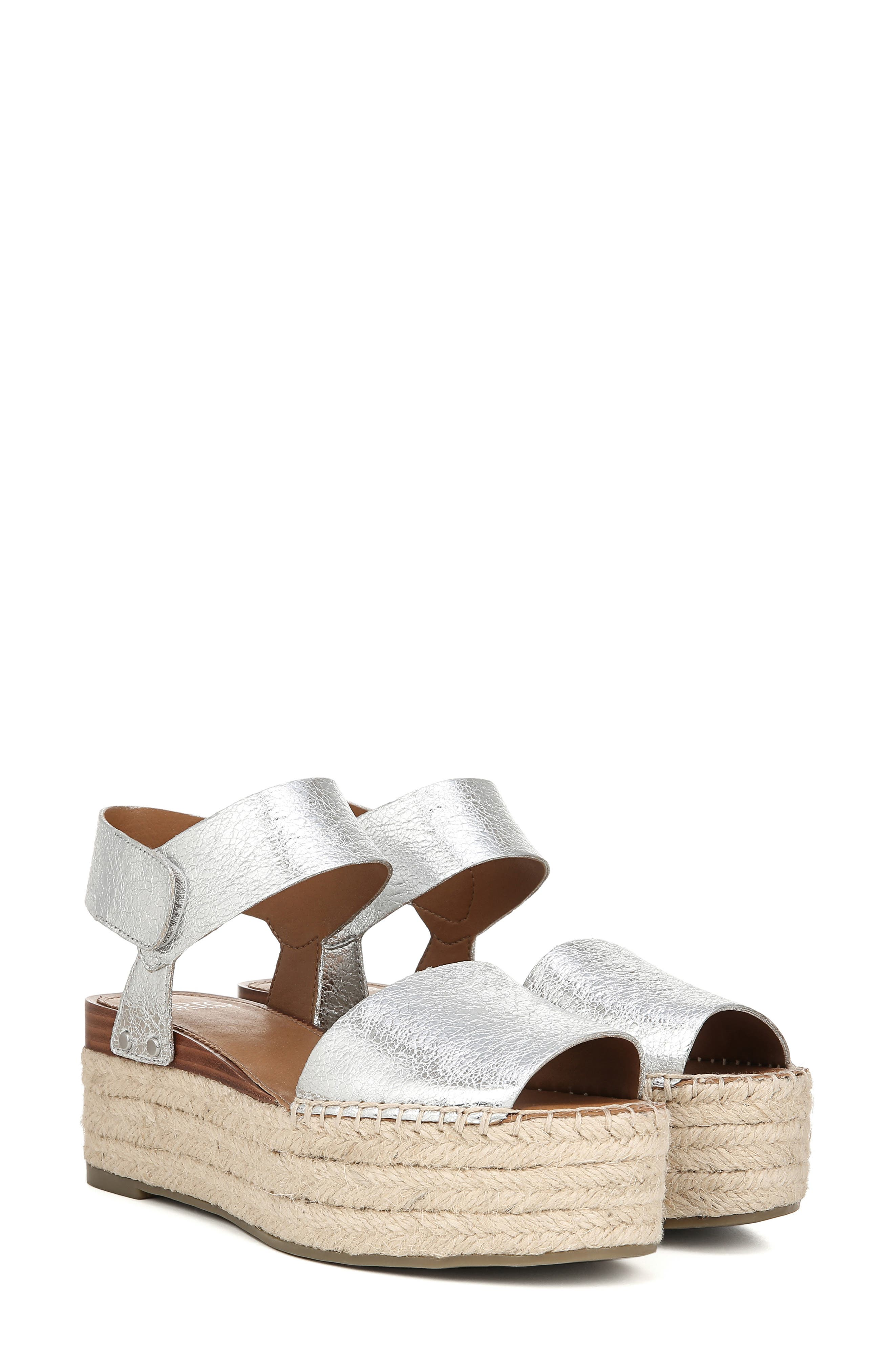 SARTO BY FRANCO SARTO, Leo Platform Espadrille Sandal, Alternate thumbnail 8, color, SILVER LEATHER