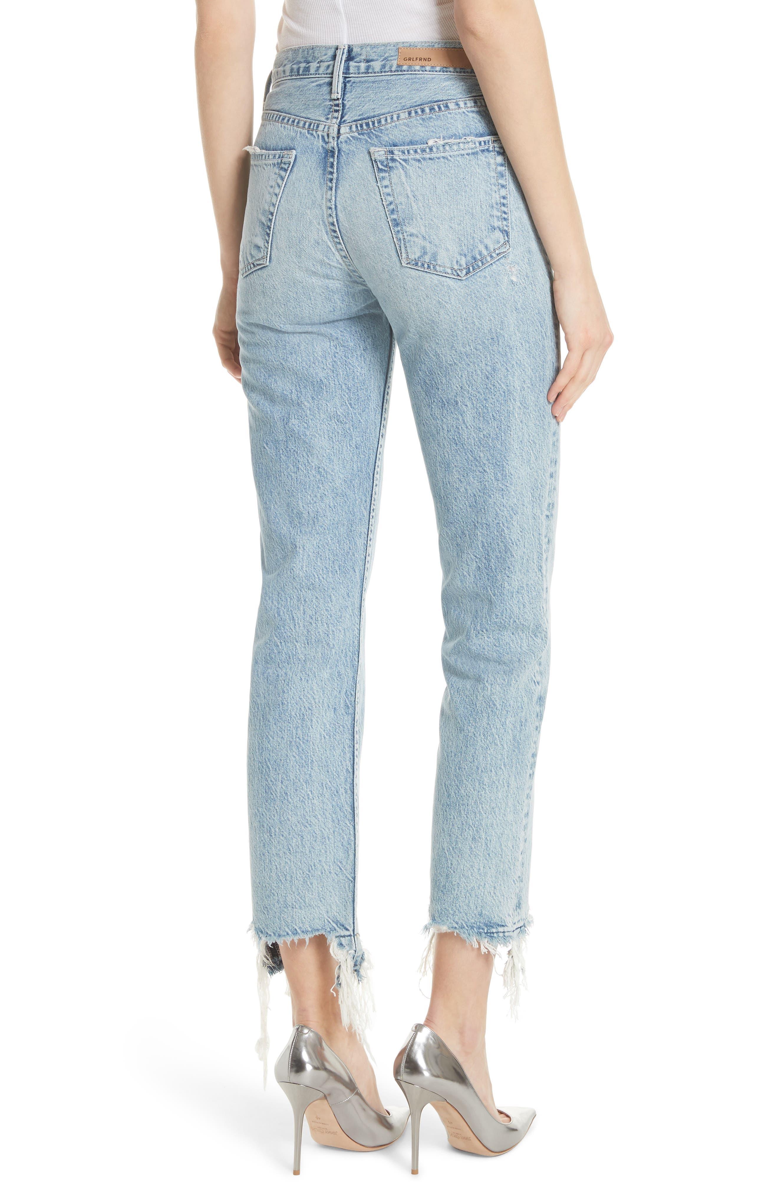 GRLFRND, Helena Frayed Hem High Waist Jeans, Alternate thumbnail 2, color, 401