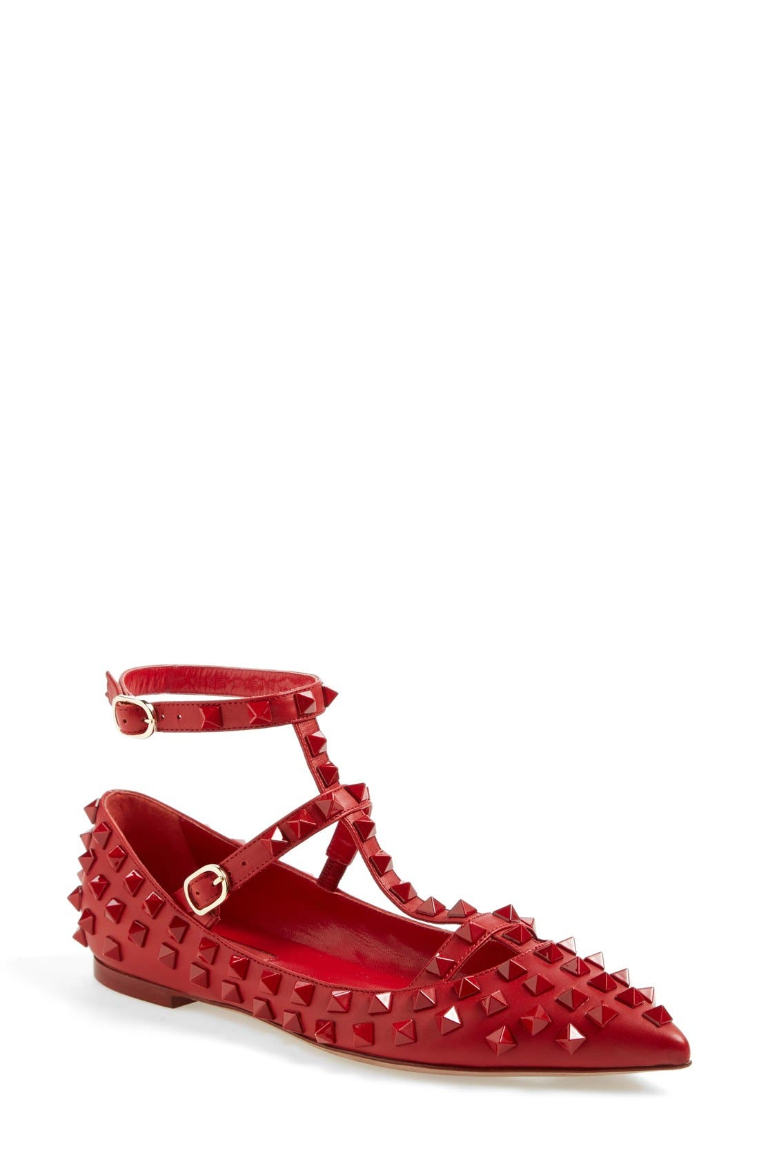 VALENTINO GARAVANI 'Rockstud' T-Strap Pointy Toe Flat, Main, color, 600