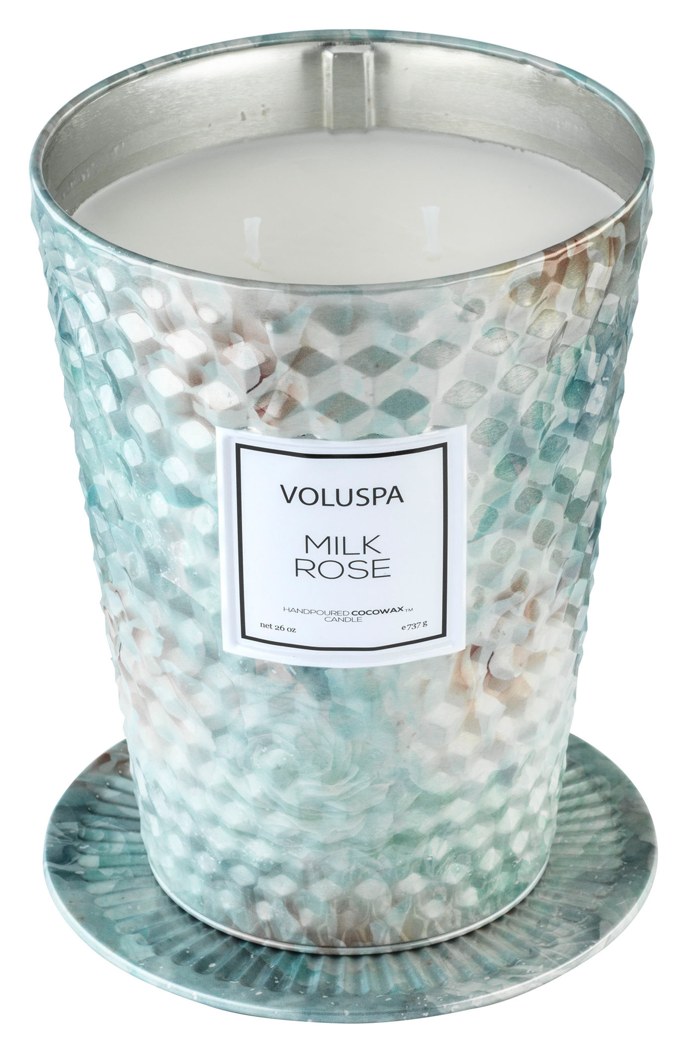 VOLUSPA, Roses Two-Wick Tin Table Candle, Alternate thumbnail 2, color, MILK ROSE