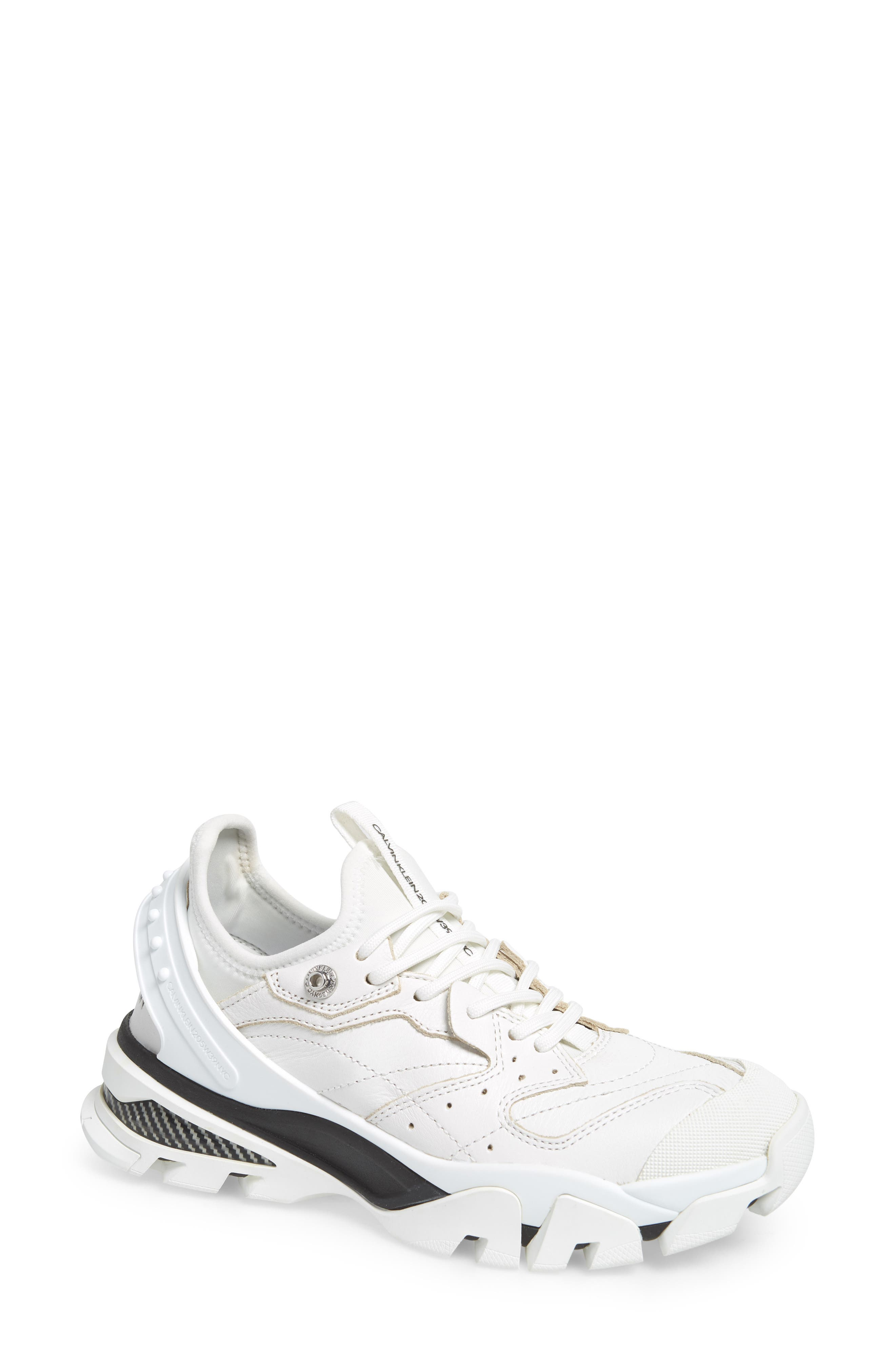 CALVIN KLEIN, 205W39NYC Carla Sneaker, Main thumbnail 1, color, WHITE/ BLACK/ BLACK