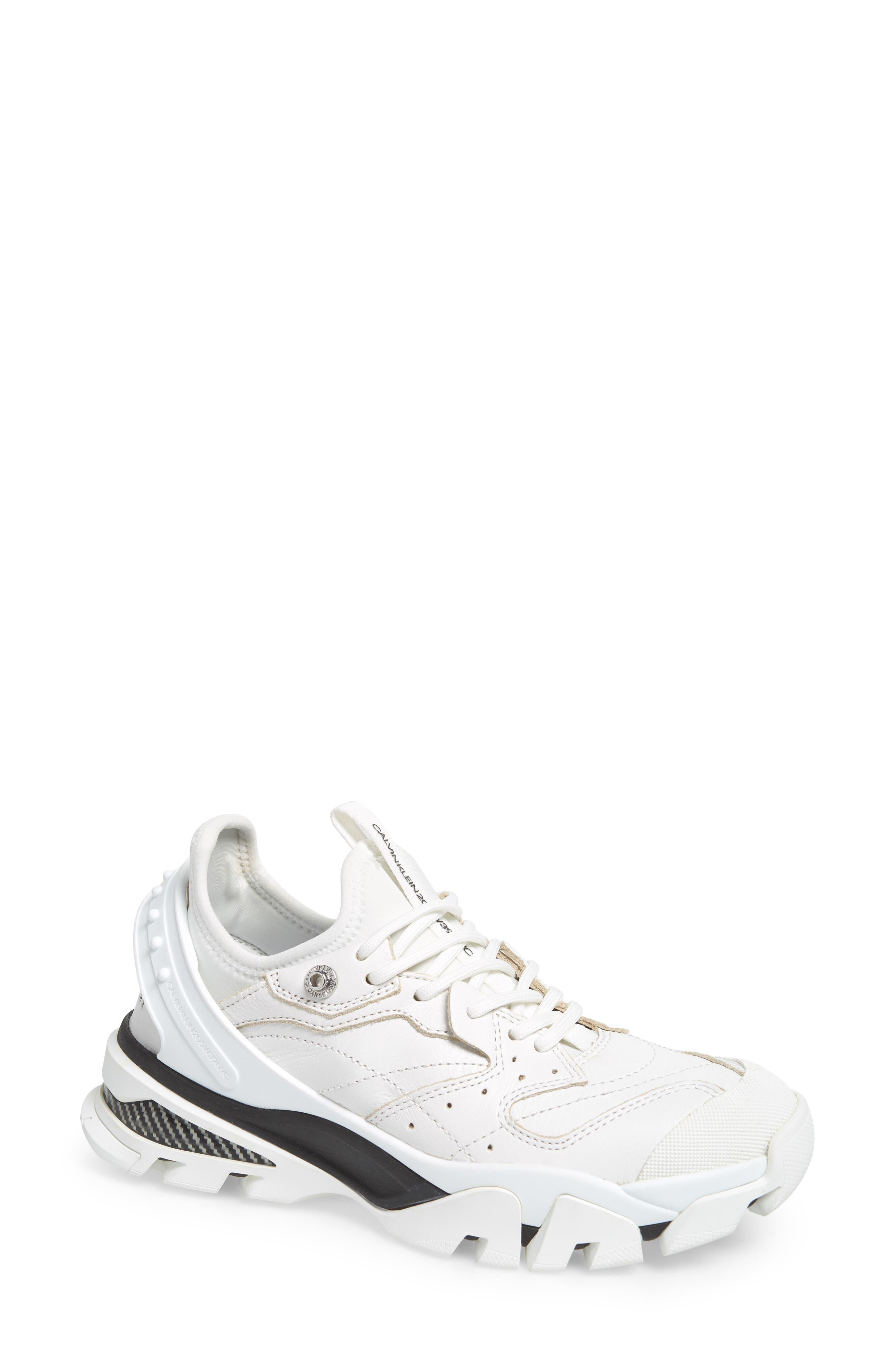 CALVIN KLEIN 205W39NYC Carla Sneaker, Main, color, WHITE/ BLACK/ BLACK