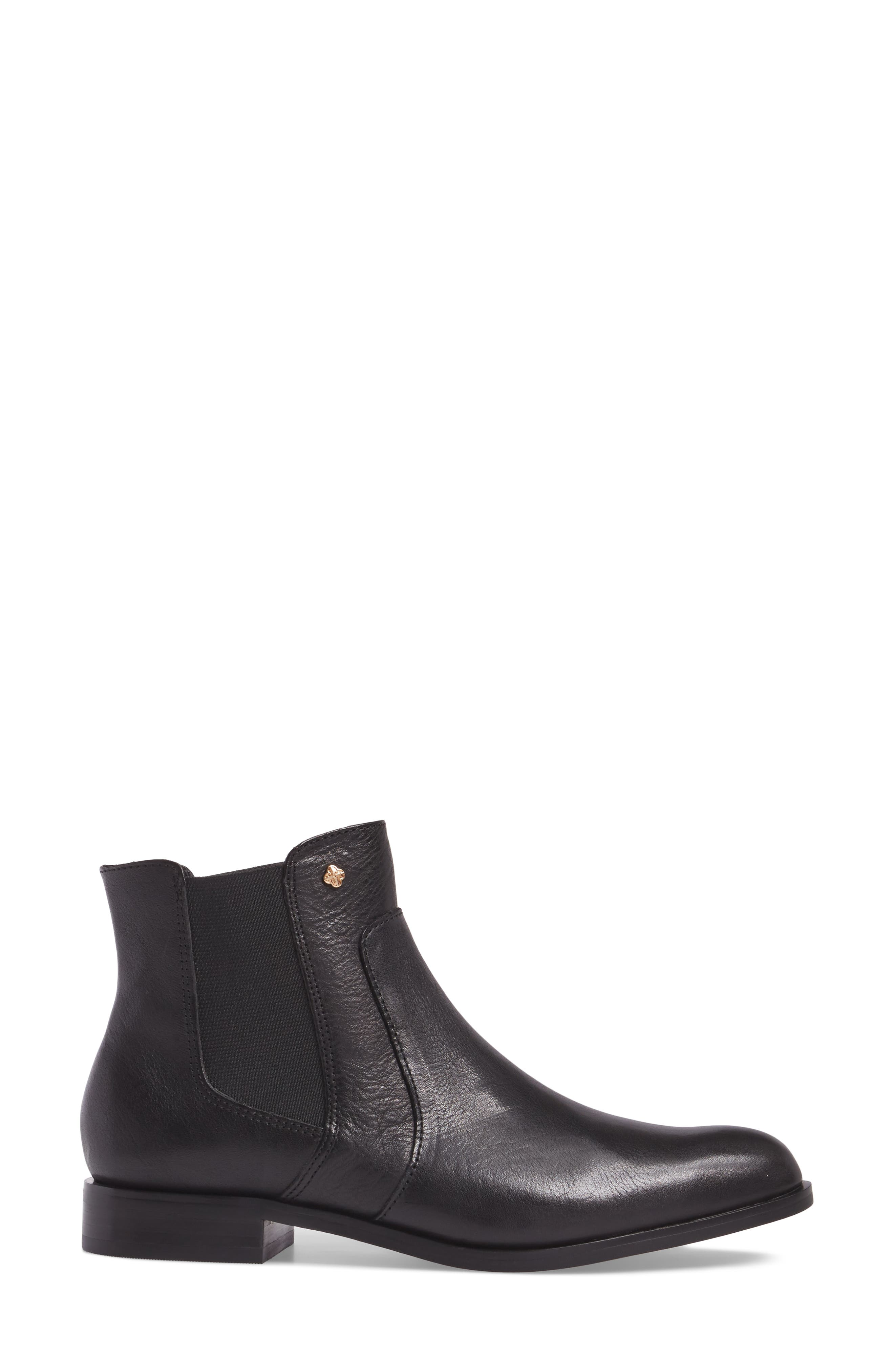 ISOLÁ, Mora Bootie, Alternate thumbnail 3, color, BLACK LEATHER