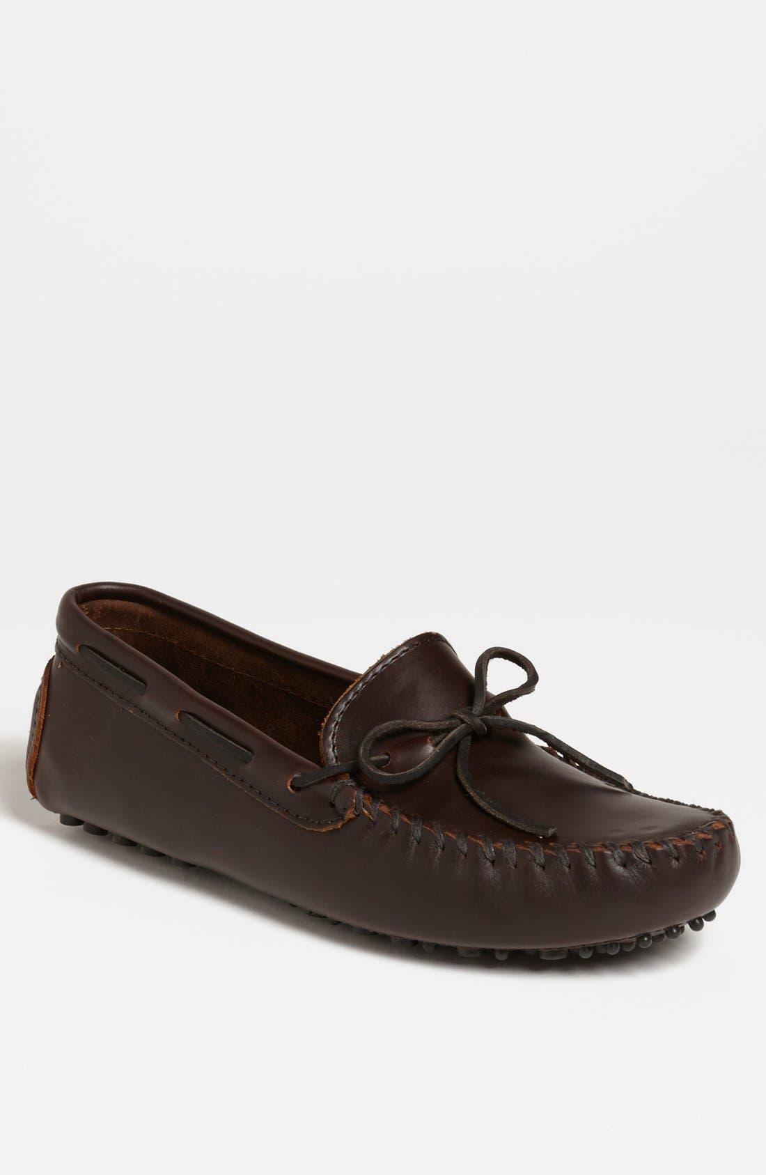 MINNETONKA Leather Driving Shoe, Main, color, DARK BROWN LARIAT