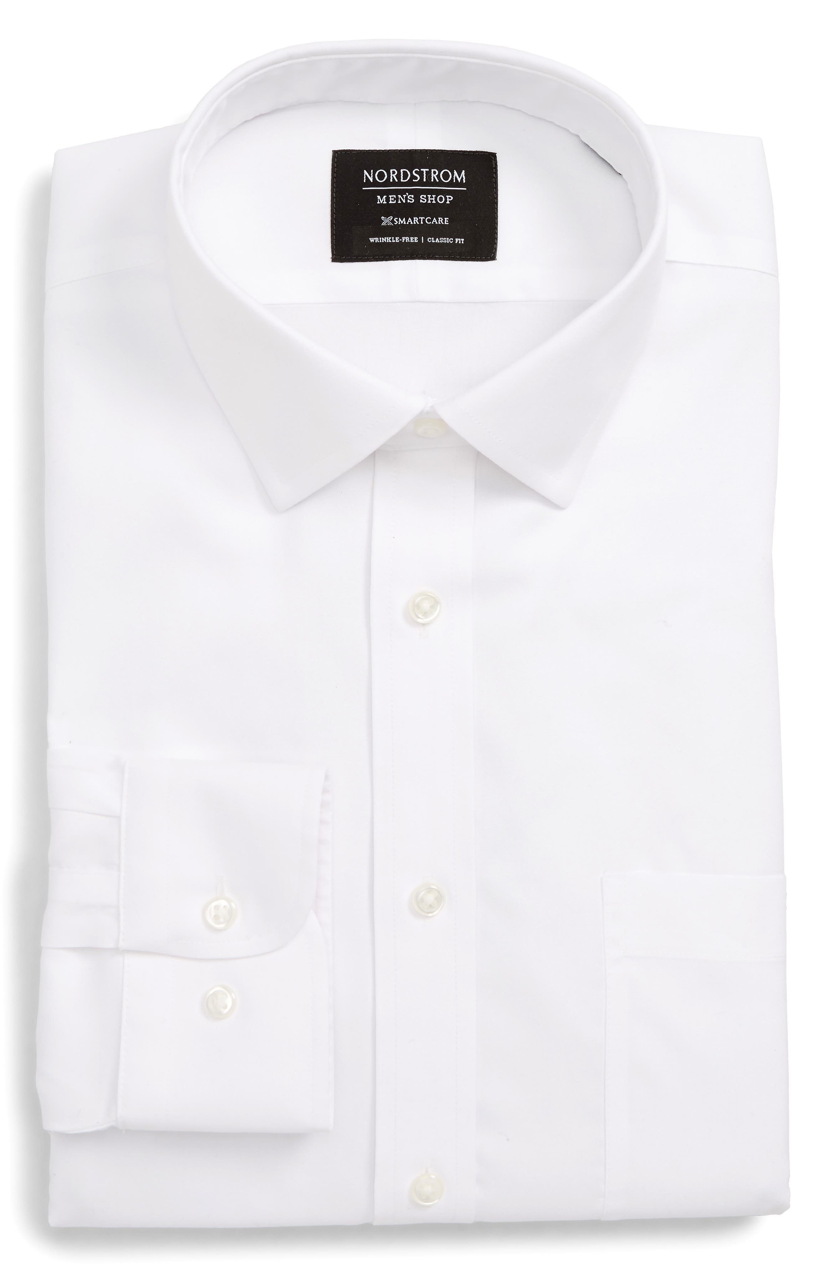 NORDSTROM MEN'S SHOP, Smartcare<sup>™</sup> Classic Fit Solid Dress Shirt, Alternate thumbnail 5, color, WHITE BRILLIANT