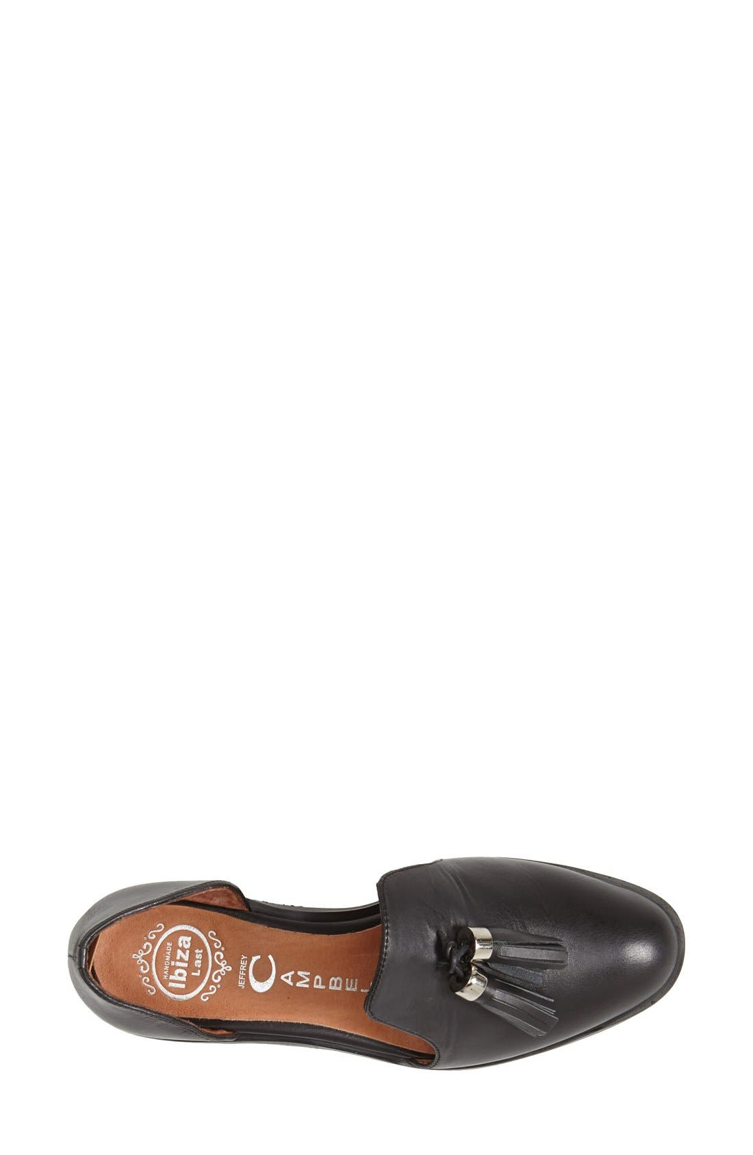 JEFFREY CAMPBELL, 'Open Case' Tasseled Leather Flat, Alternate thumbnail 4, color, 001