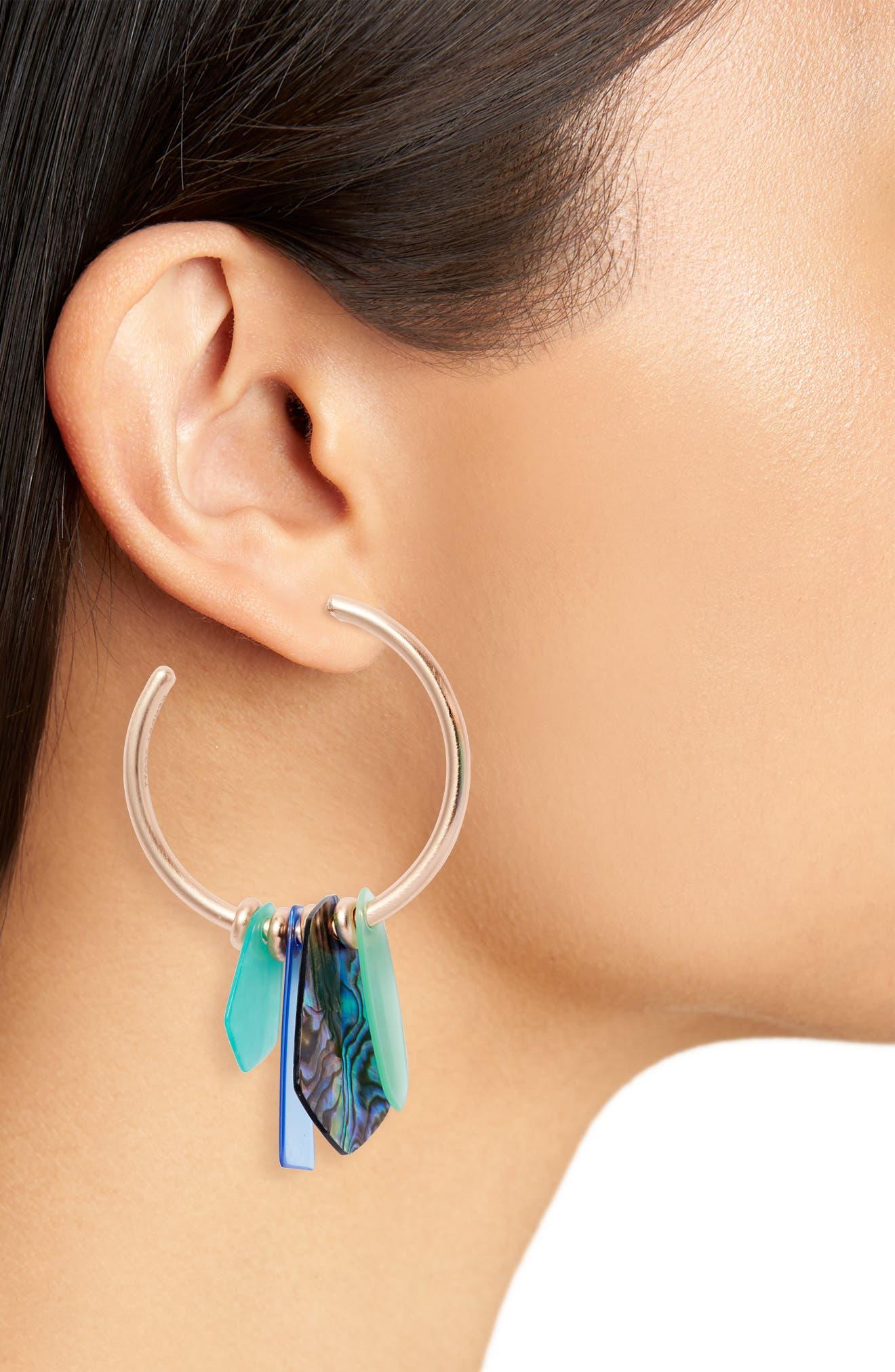 KENDRA SCOTT, Gaby Hoop Earrings, Alternate thumbnail 2, color, ABALONE MIX/ ROSE GOLD