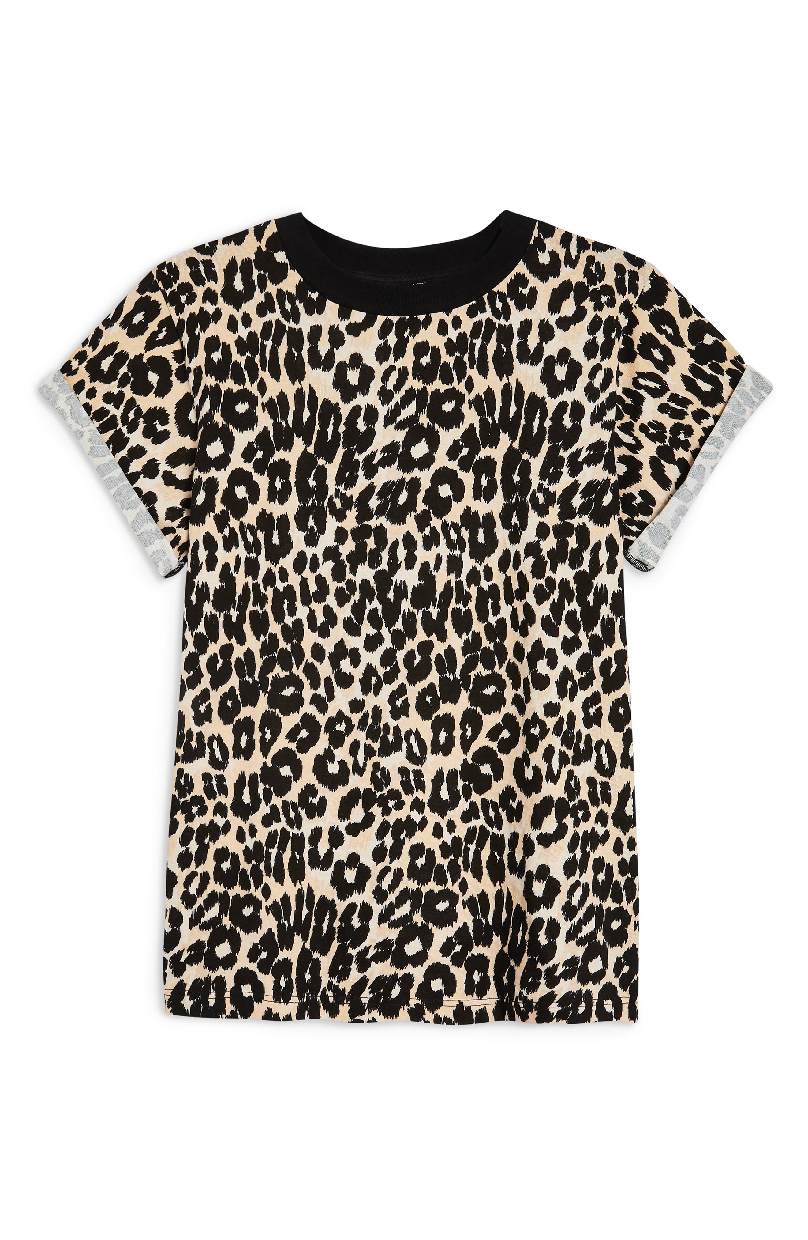 TOPSHOP, Leopard Print Tee, Alternate thumbnail 4, color, 001