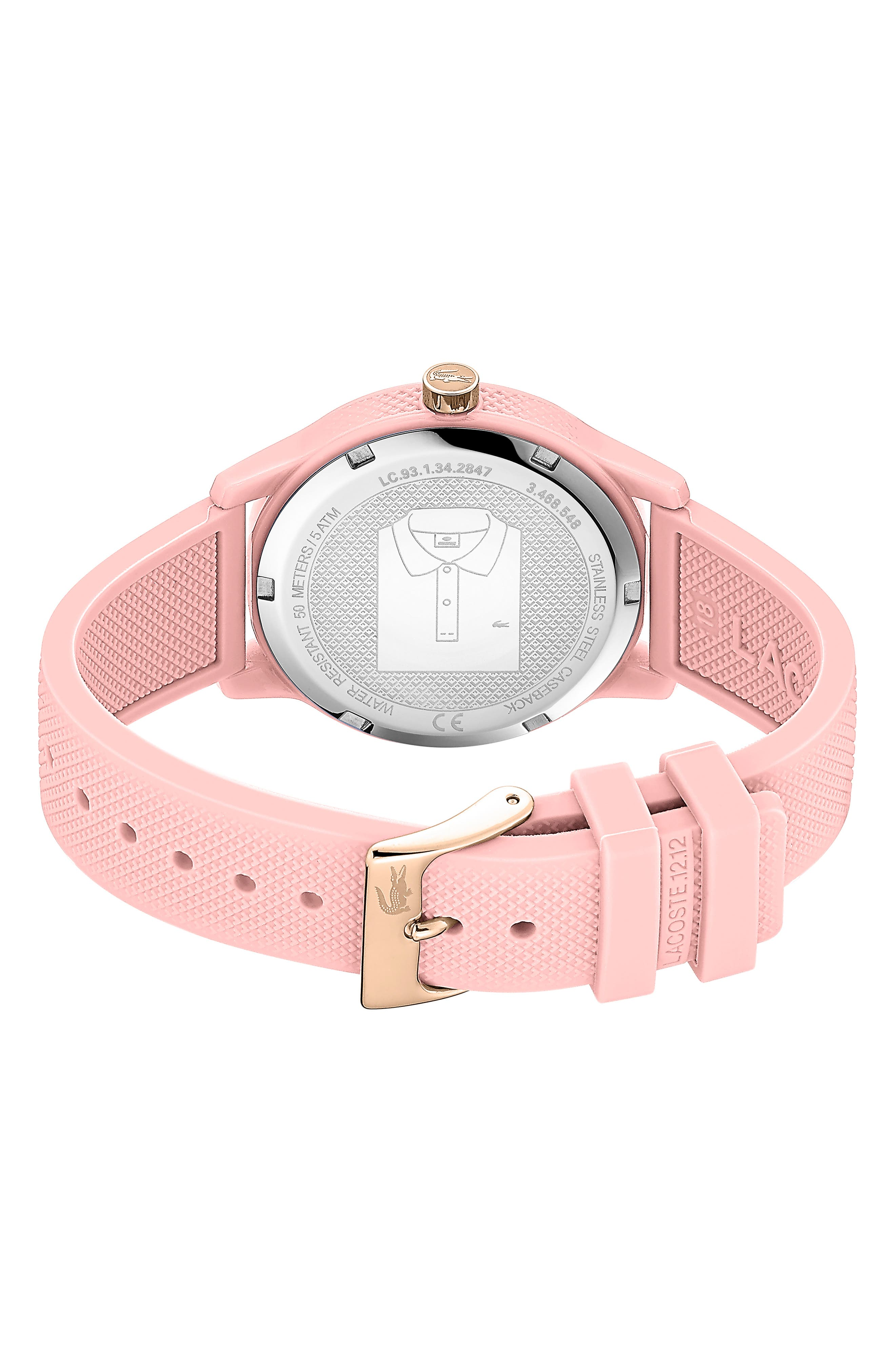 LACOSTE, 12.12 Silicone Strap Watch, 36mm, Alternate thumbnail 2, color, PINK