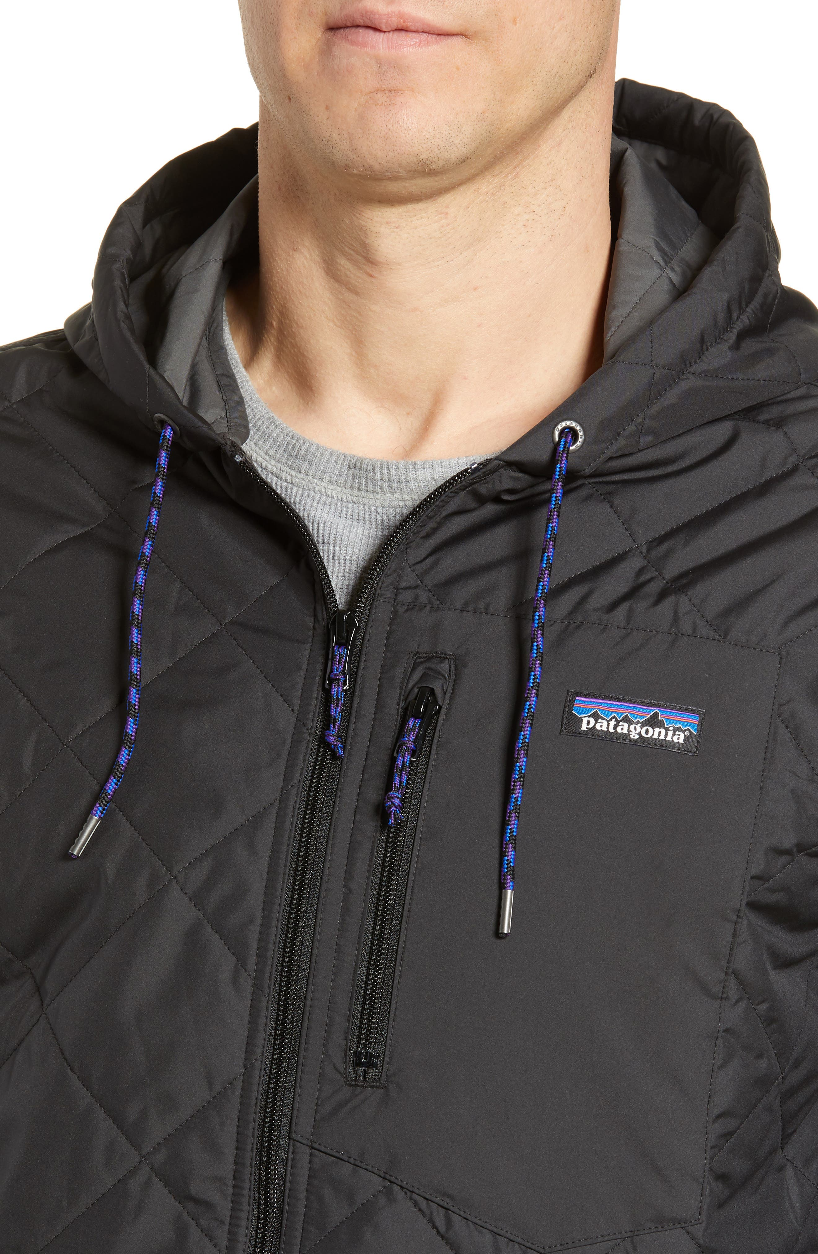 PATAGONIA, Diamond Quilt Ripstop Hooded Jacket, Alternate thumbnail 5, color, 001