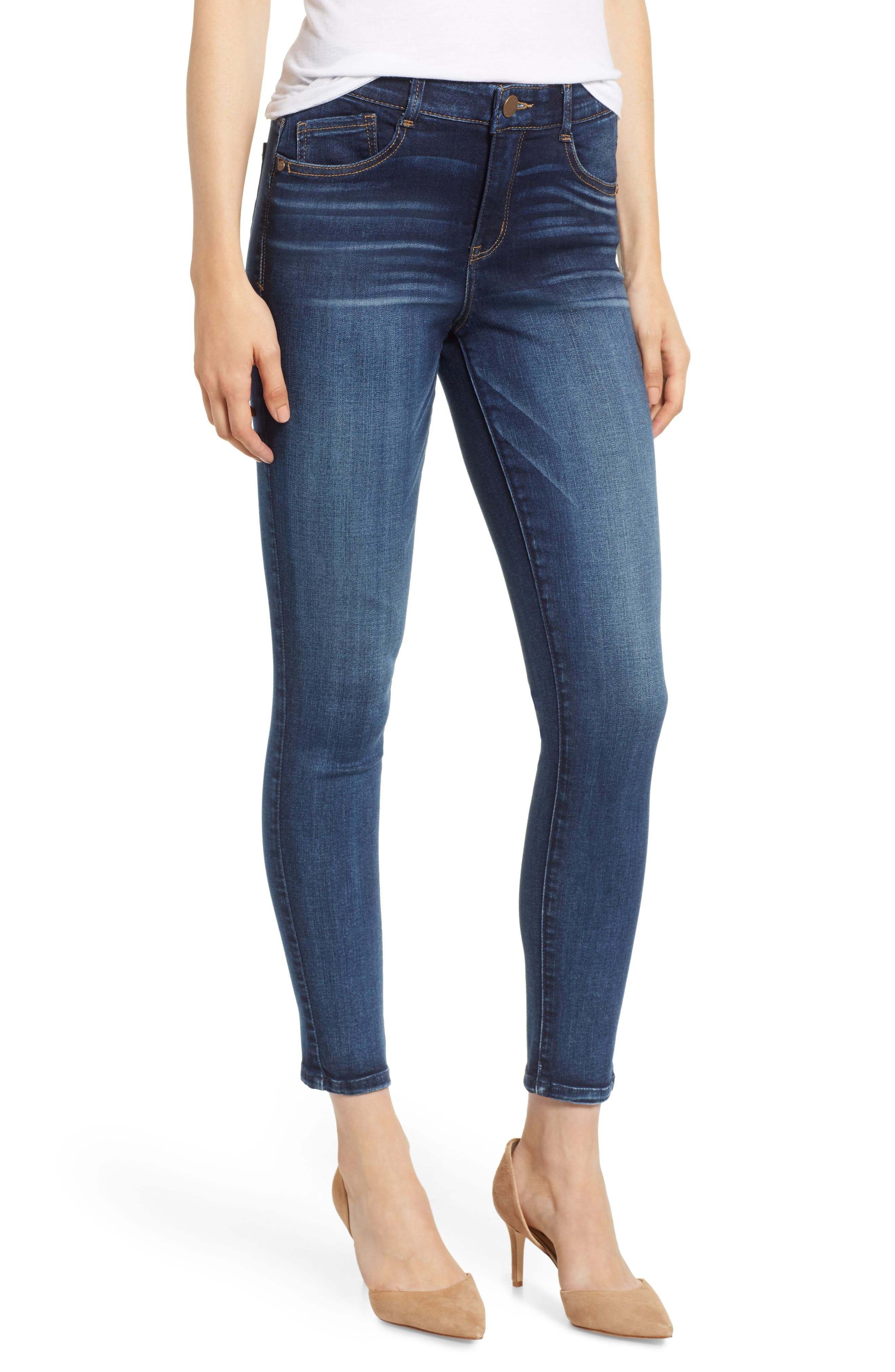 WIT & WISDOM, Luxe Touch High Waist Skinny Ankle Jeans, Main thumbnail 1, color, BLUE