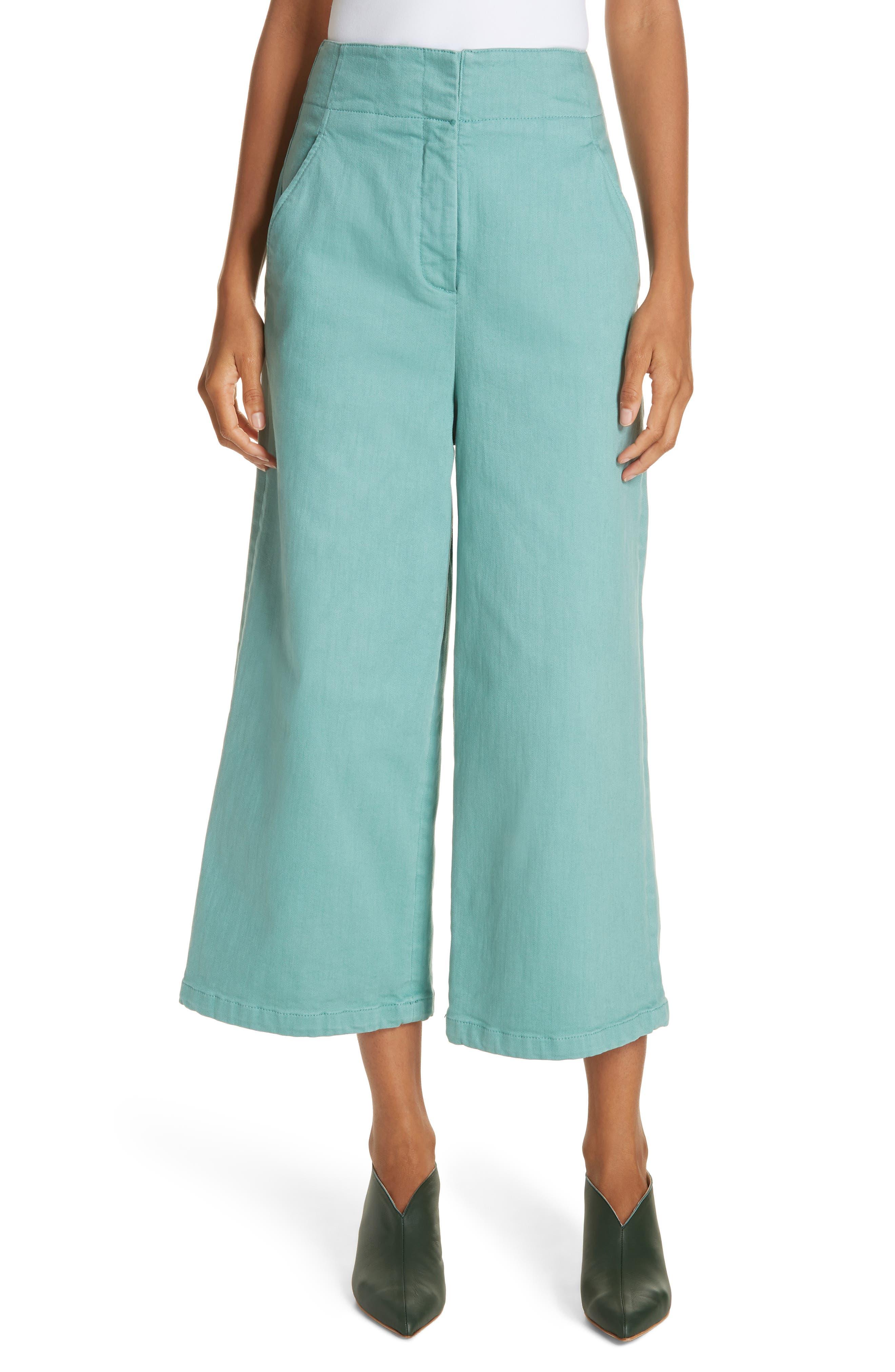 Vintage Shorts, Culottes,  Capris History Womens Tibi Garment Dyed Wide Leg Crop Jeans $157.98 AT vintagedancer.com