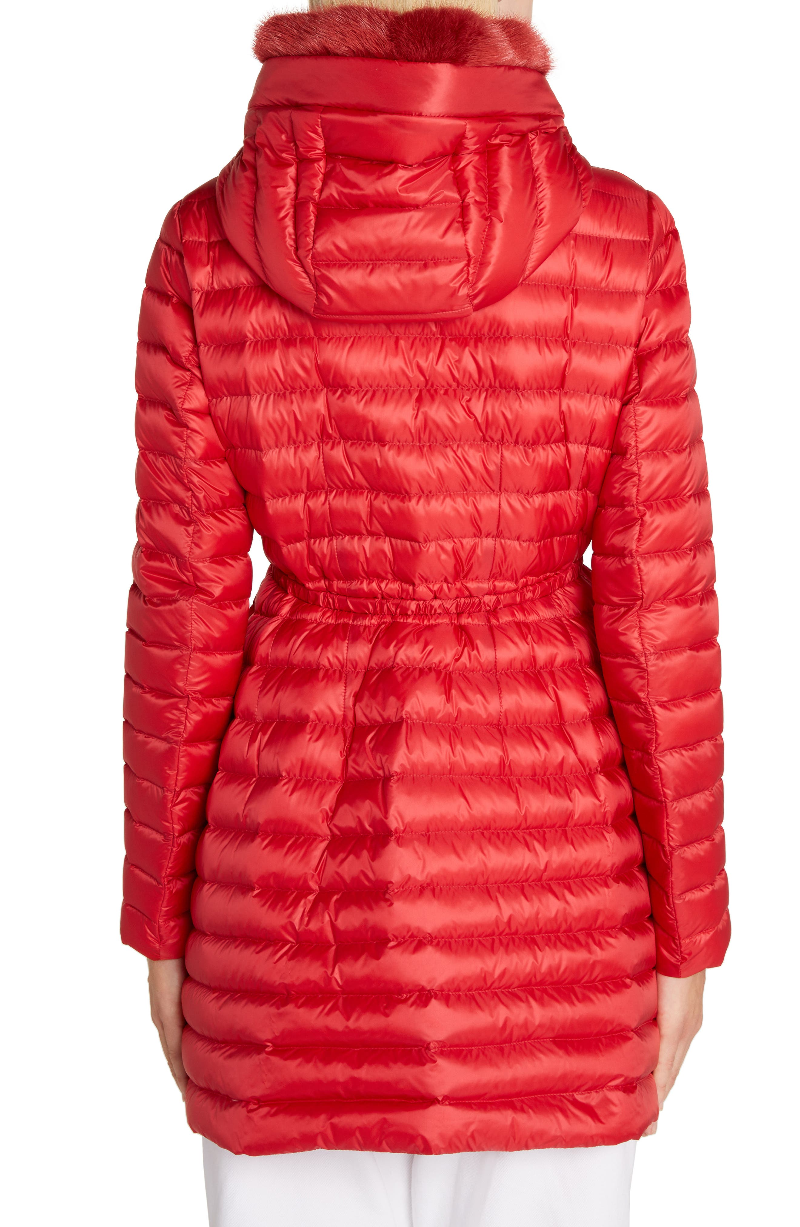 MONCLER, Barbel Quilted Down Coat with Genuine Mink Fur Trim, Alternate thumbnail 2, color, RED