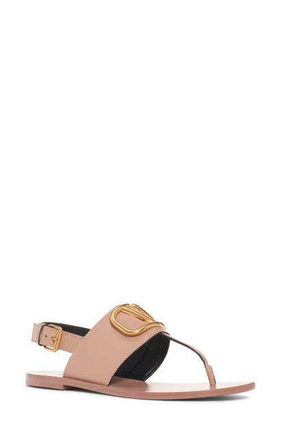 34c233d45 Valentino Vlogo Flat Leather Thong Sandals In Black Leather ...