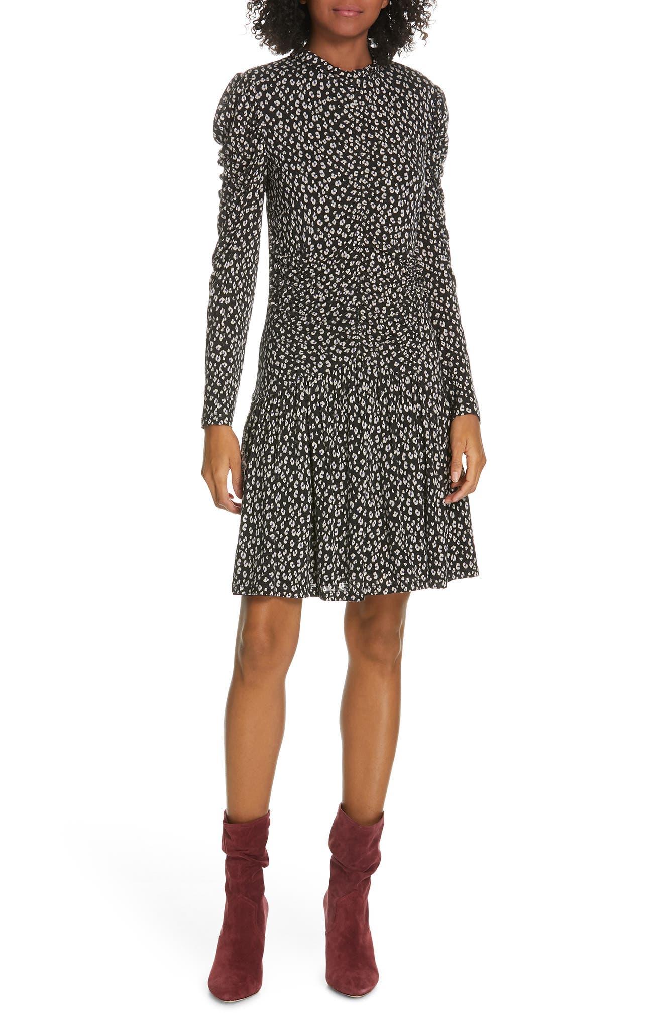 REBECCA TAYLOR, Cheetah Ruched Jersey Dress, Main thumbnail 1, color, 014