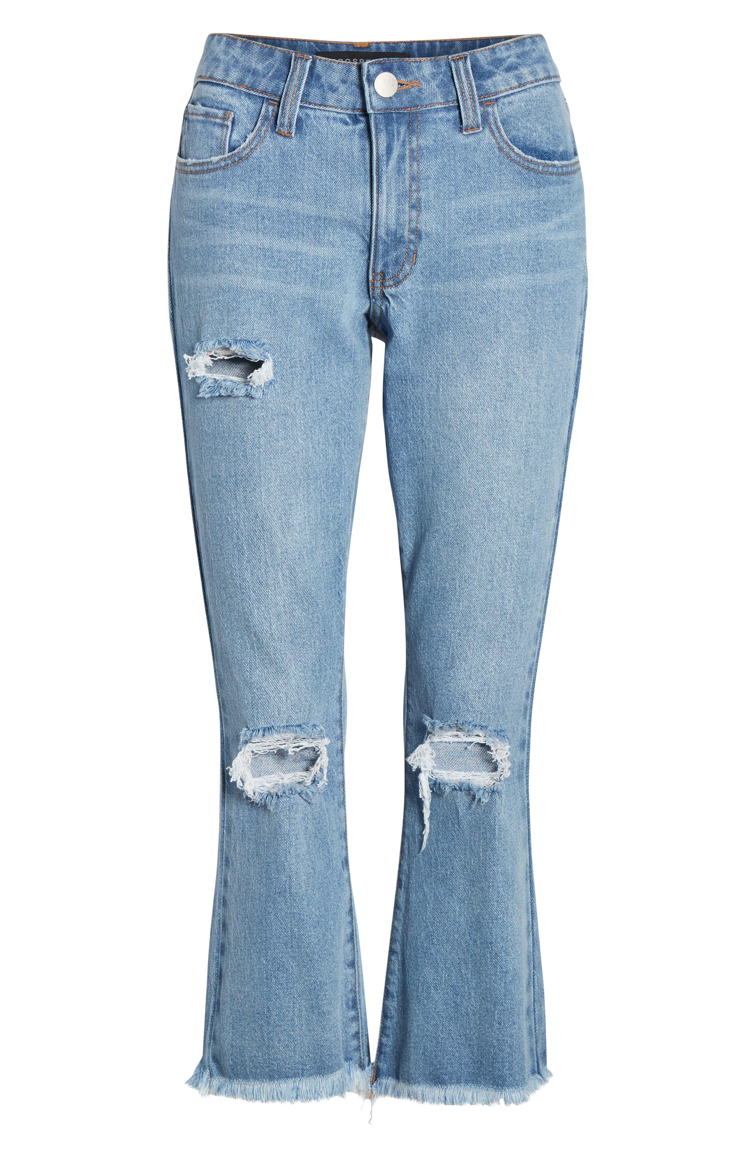 PROSPERITY DENIM, Ripped Crop Flare Jeans, Alternate thumbnail 7, color, MEDIUM WASH