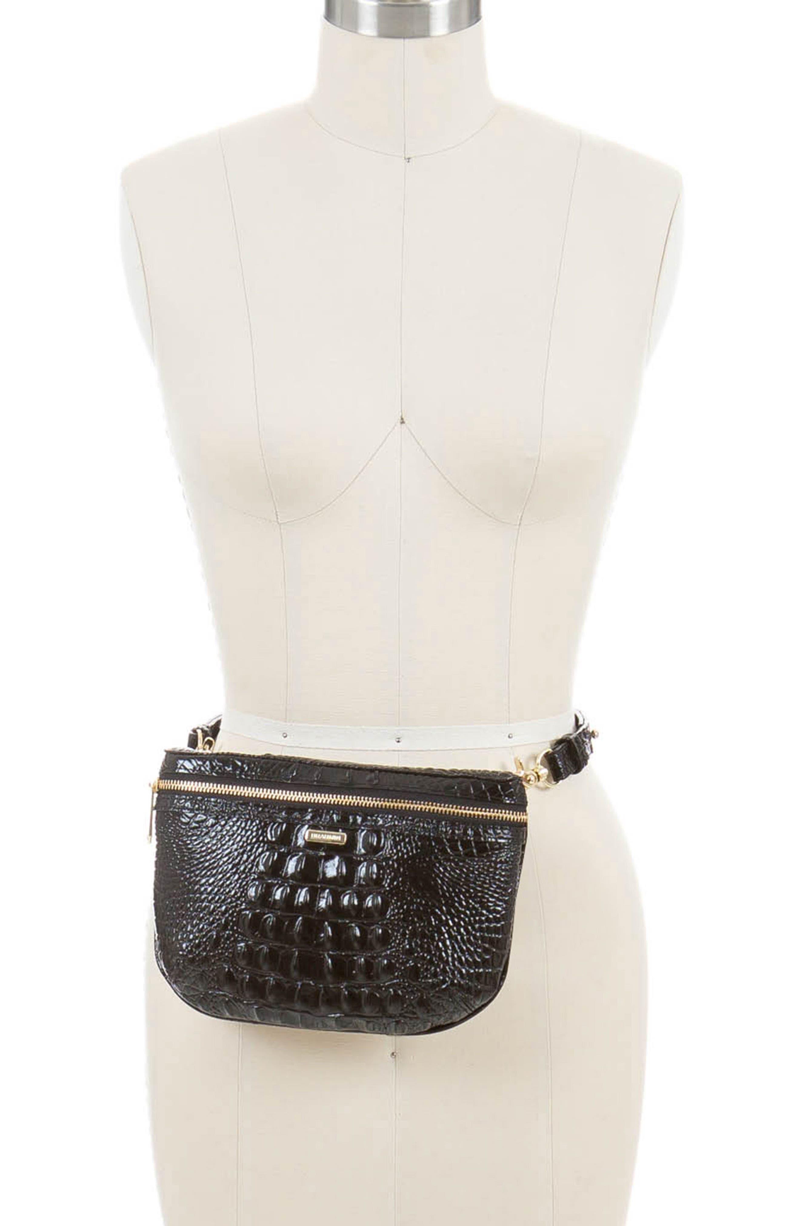 BRAHMIN, Croc Embossed Leather Belt Bag, Alternate thumbnail 2, color, BLACK