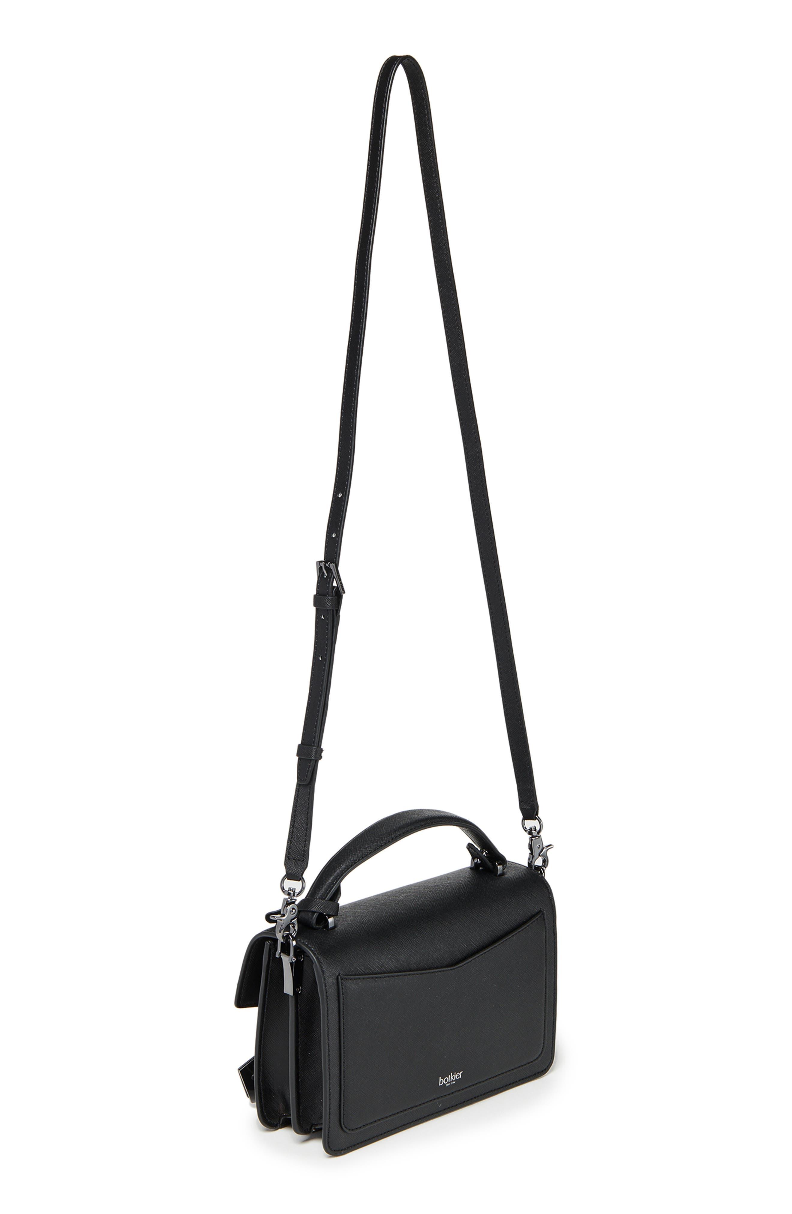 BOTKIER, Cobble Hill Leather Crossbody Bag, Alternate thumbnail 6, color, BLACK