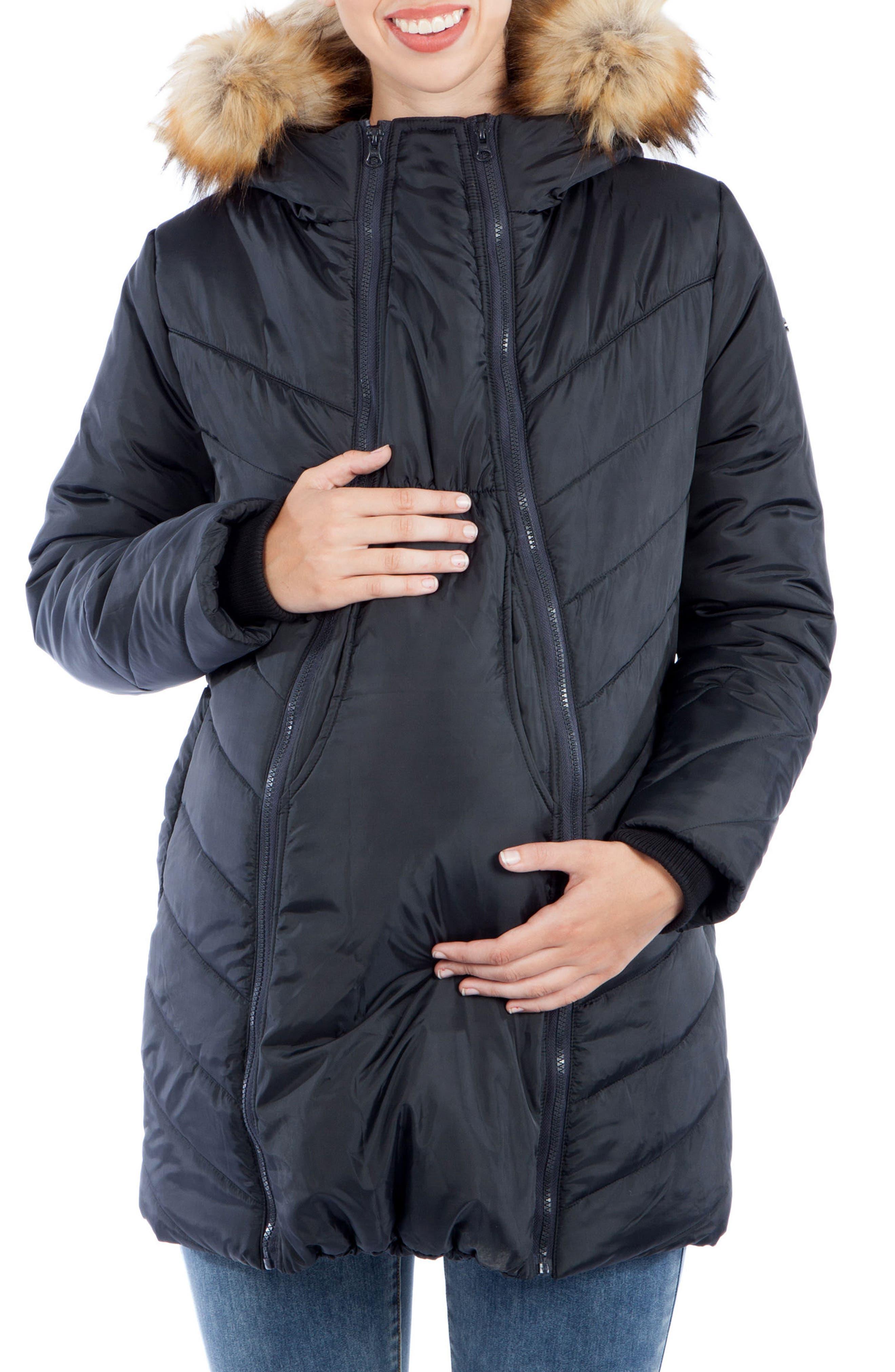 MODERN ETERNITY, Faux Fur Trim Convertible Puffer 3-in-1 Maternity Jacket, Alternate thumbnail 6, color, BLACK