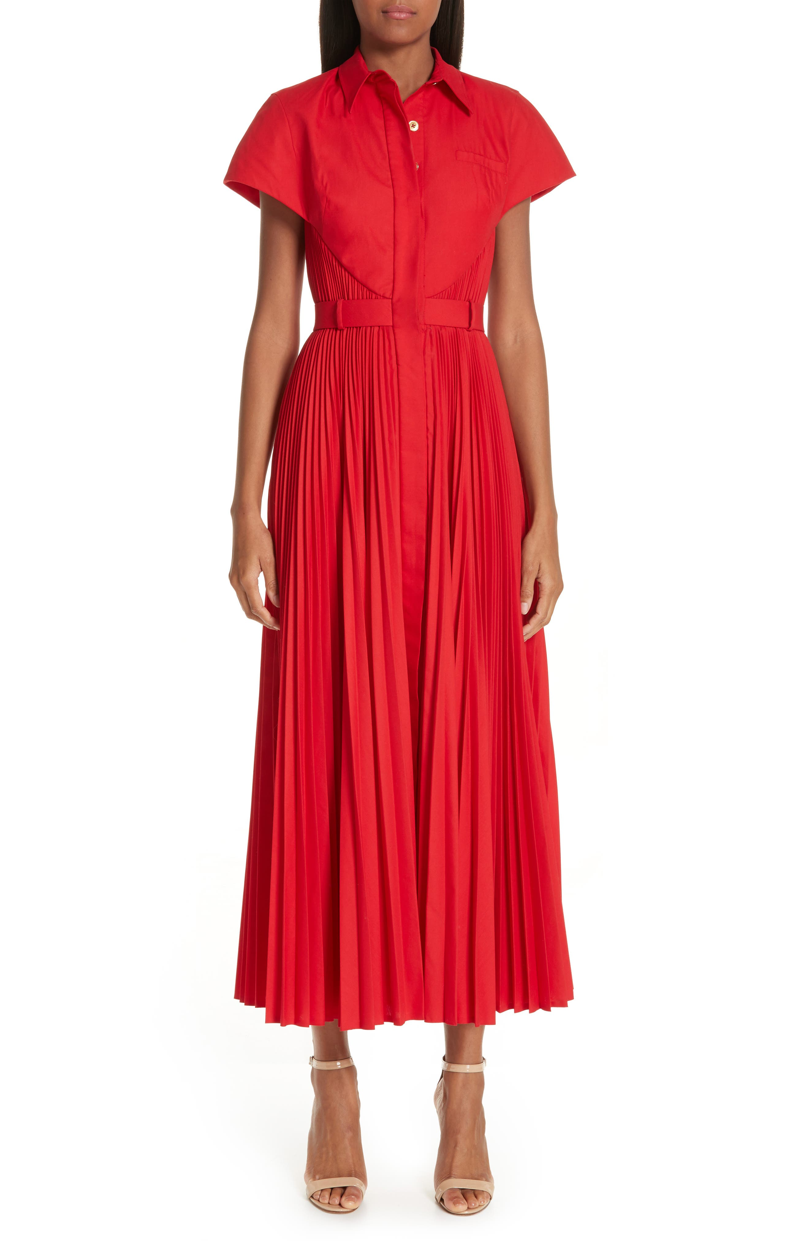 BRANDON MAXWELL, Button Front Pleated Shirtdress, Main thumbnail 1, color, RED