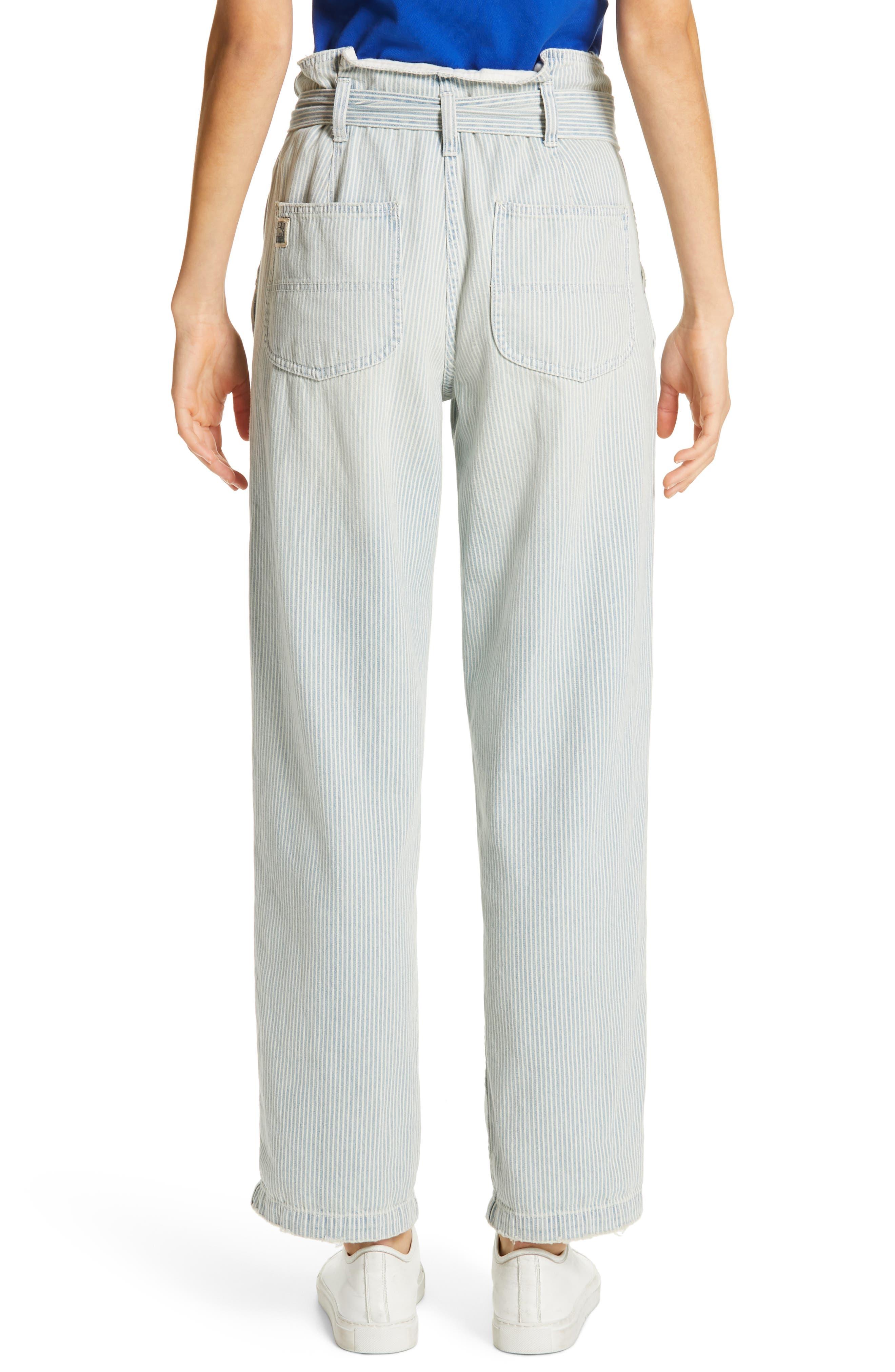 POLO RALPH LAUREN, Paperbag Waist Jeans, Alternate thumbnail 2, color, RAILROAD STRIPE