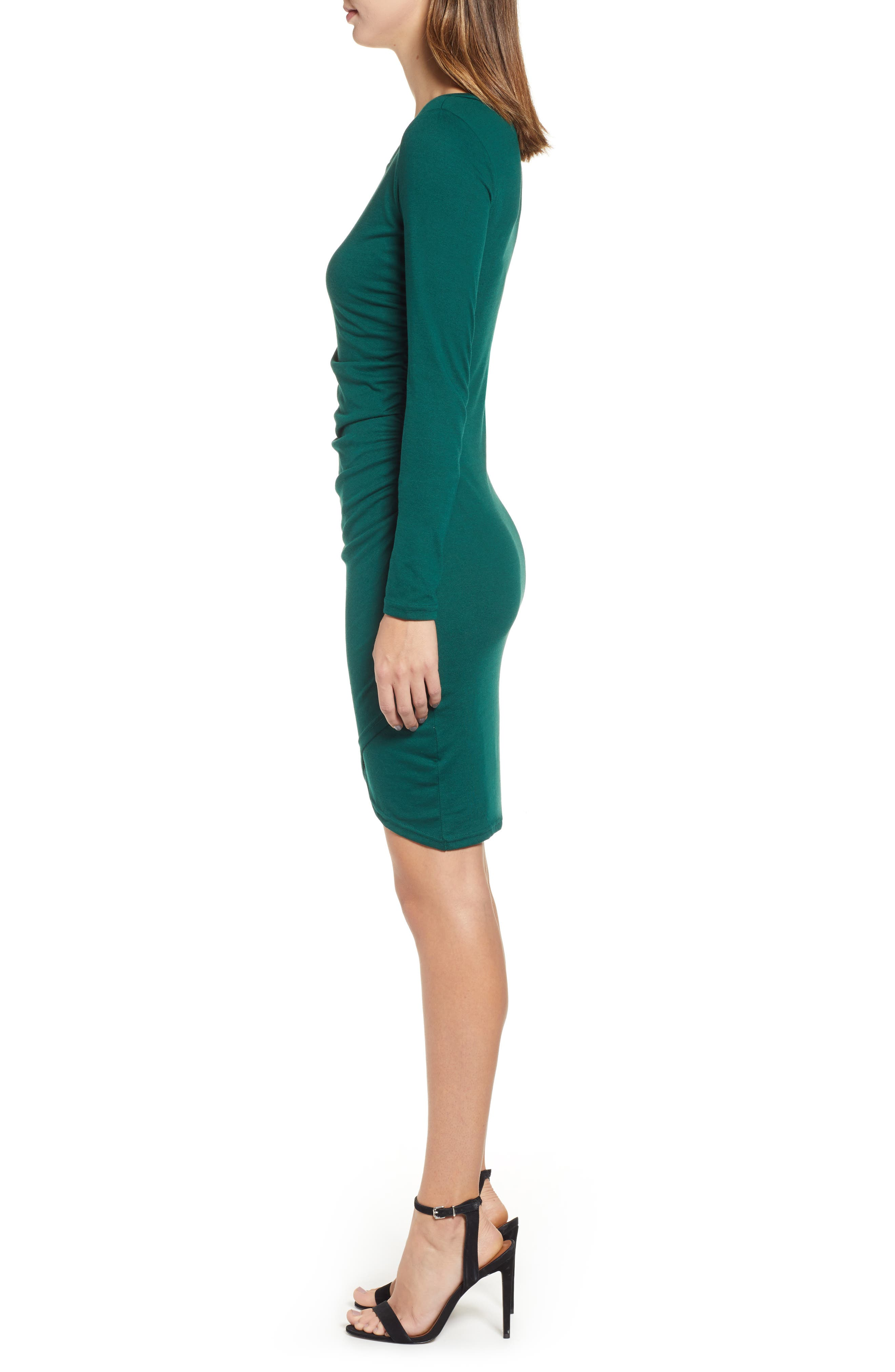 LEITH, Ruched Long Sleeve Dress, Alternate thumbnail 4, color, 302