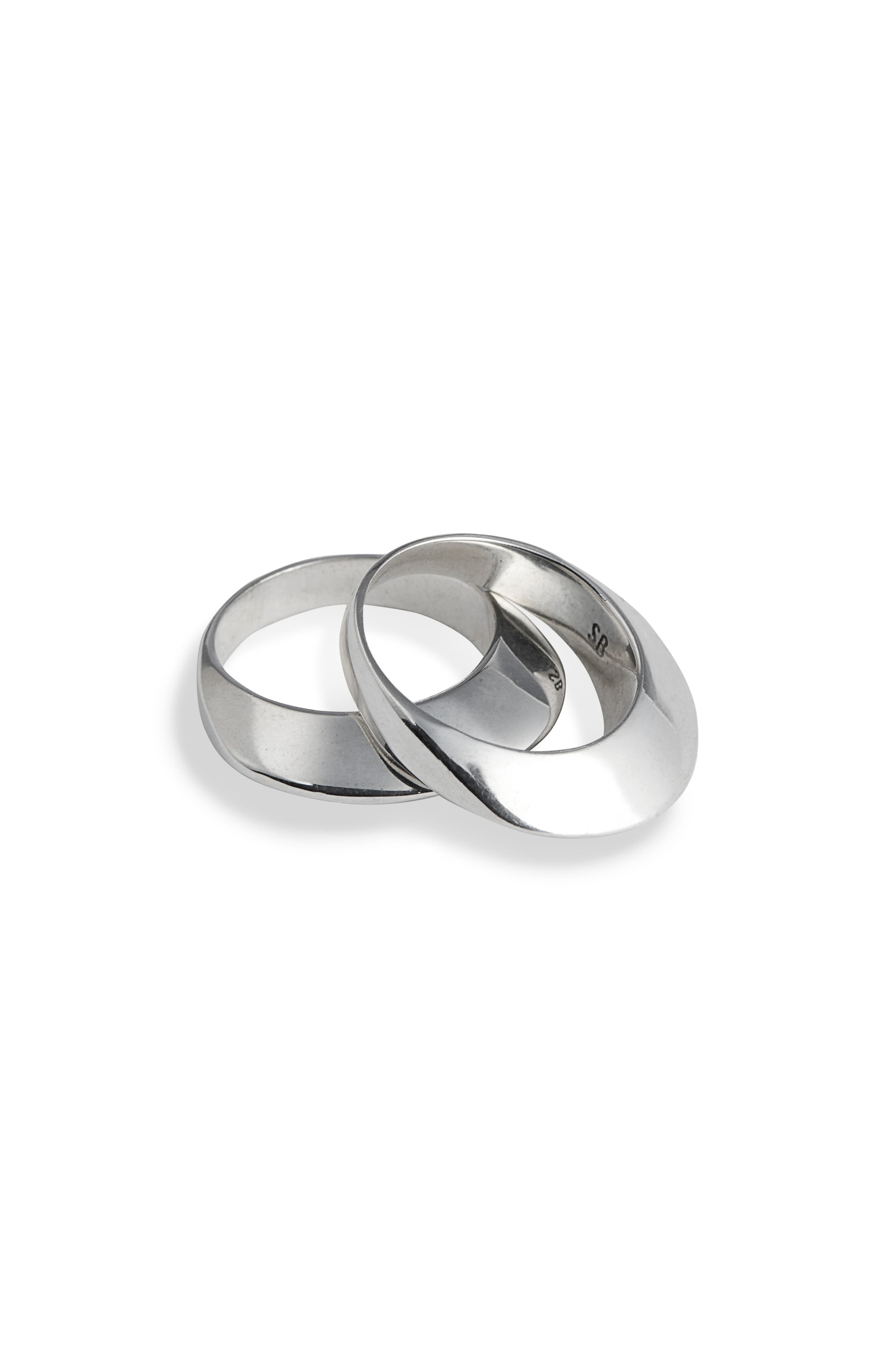 SOPHIE BUHAI, Set of 2 Disc Stacking Rings, Main thumbnail 1, color, STERLING SILVER
