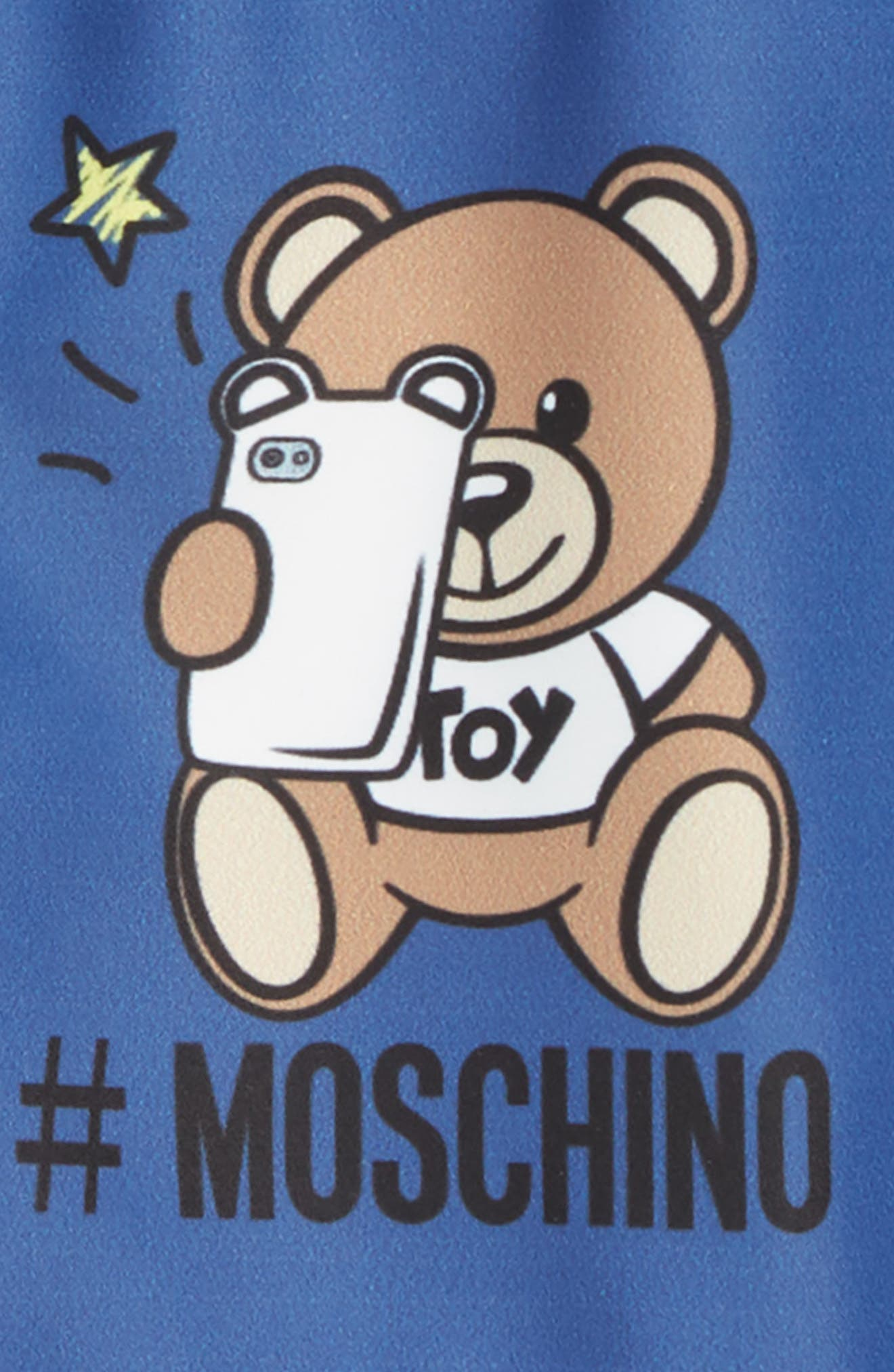 MOSCHINO, Logo Bear Graphic Board Shorts, Alternate thumbnail 2, color, NAVY