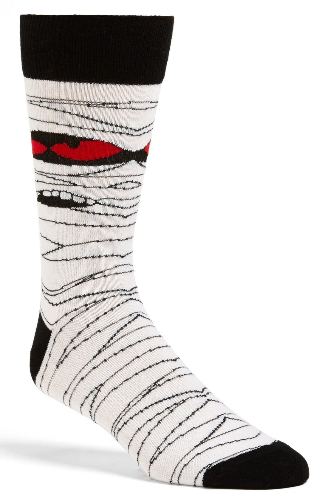 TOPMAN, Mummy Bandage Face Socks, Main thumbnail 1, color, 100
