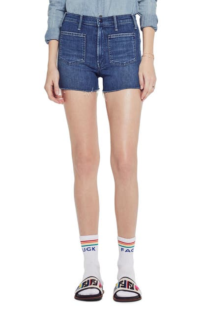 Mother Shorts THE TOMCAT PATCH HIGH WAIST CUTOFF DENIM SHORTS