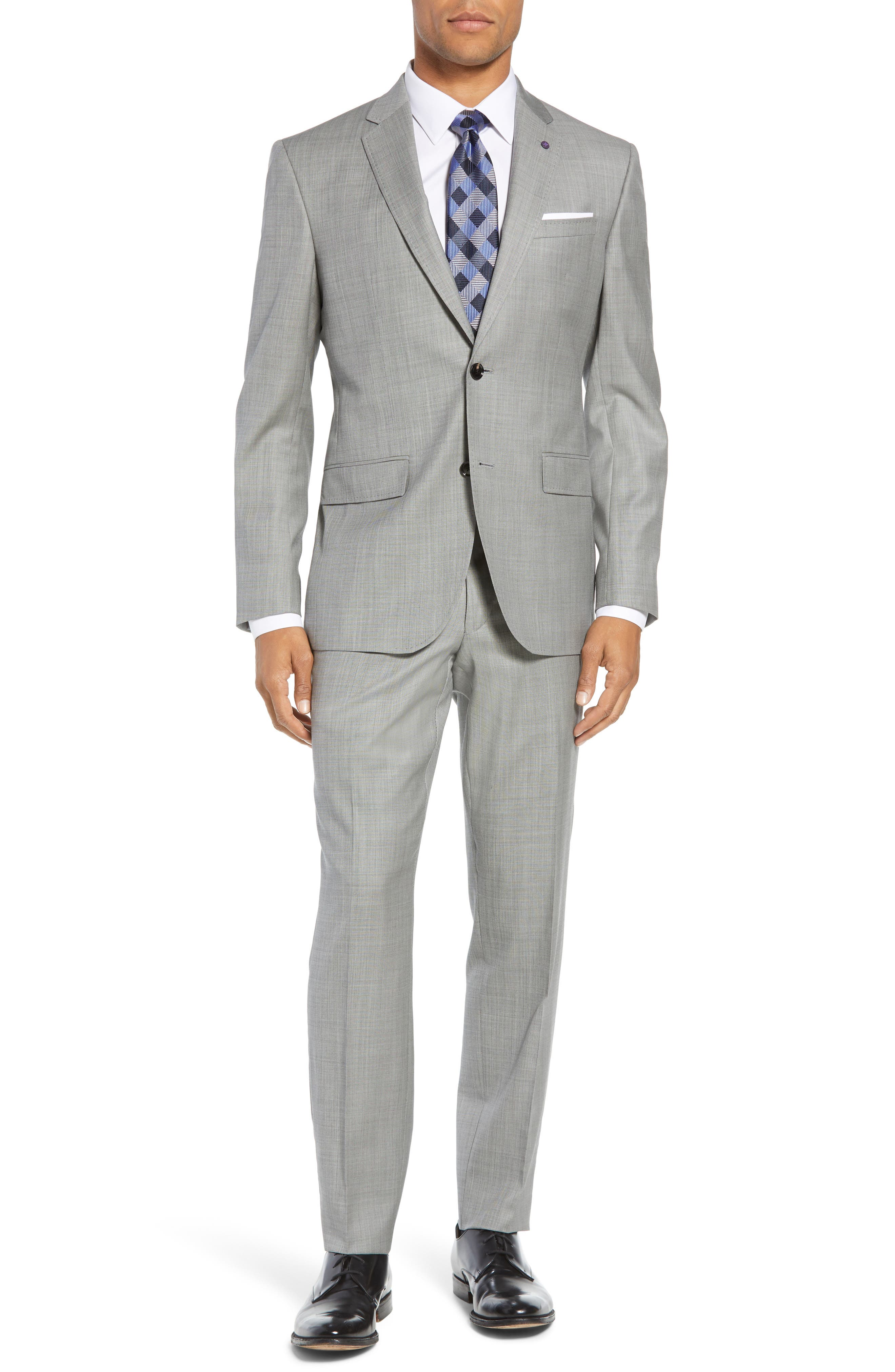 TED BAKER LONDON, Jay Trim Fit Solid Wool Suit, Main thumbnail 1, color, LIGHT GREY