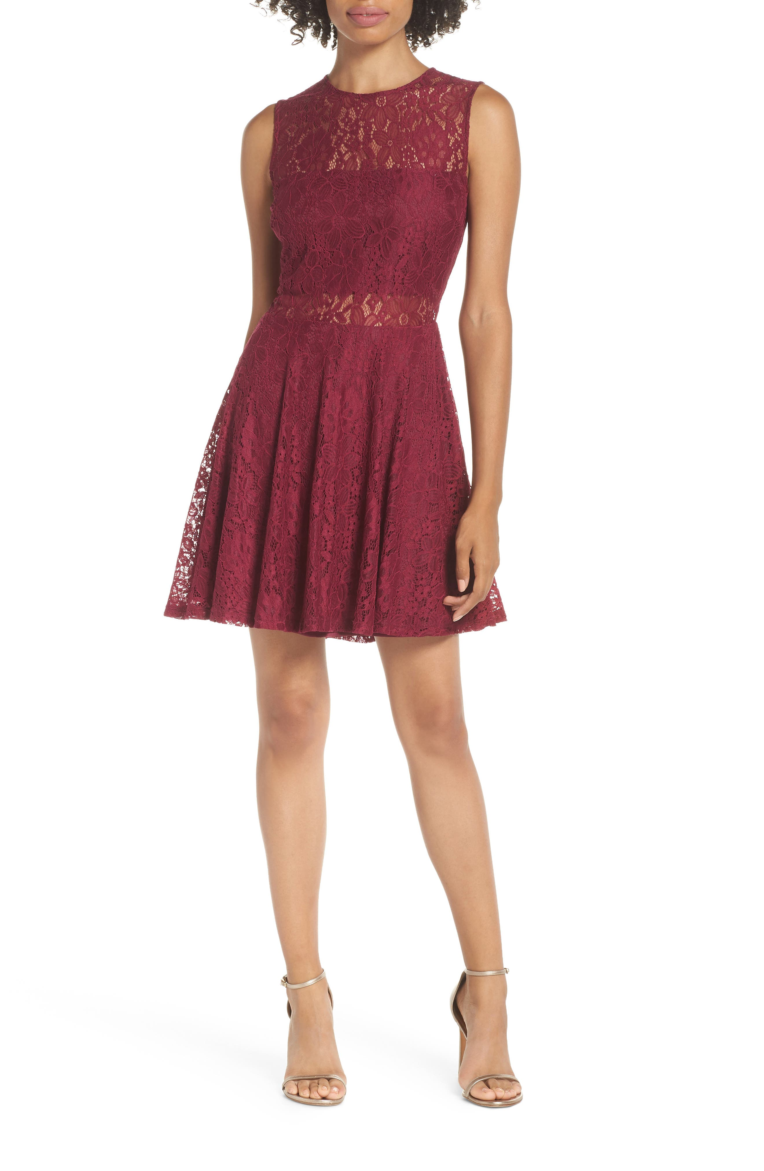 Lulus Lace Skater Dress, Red