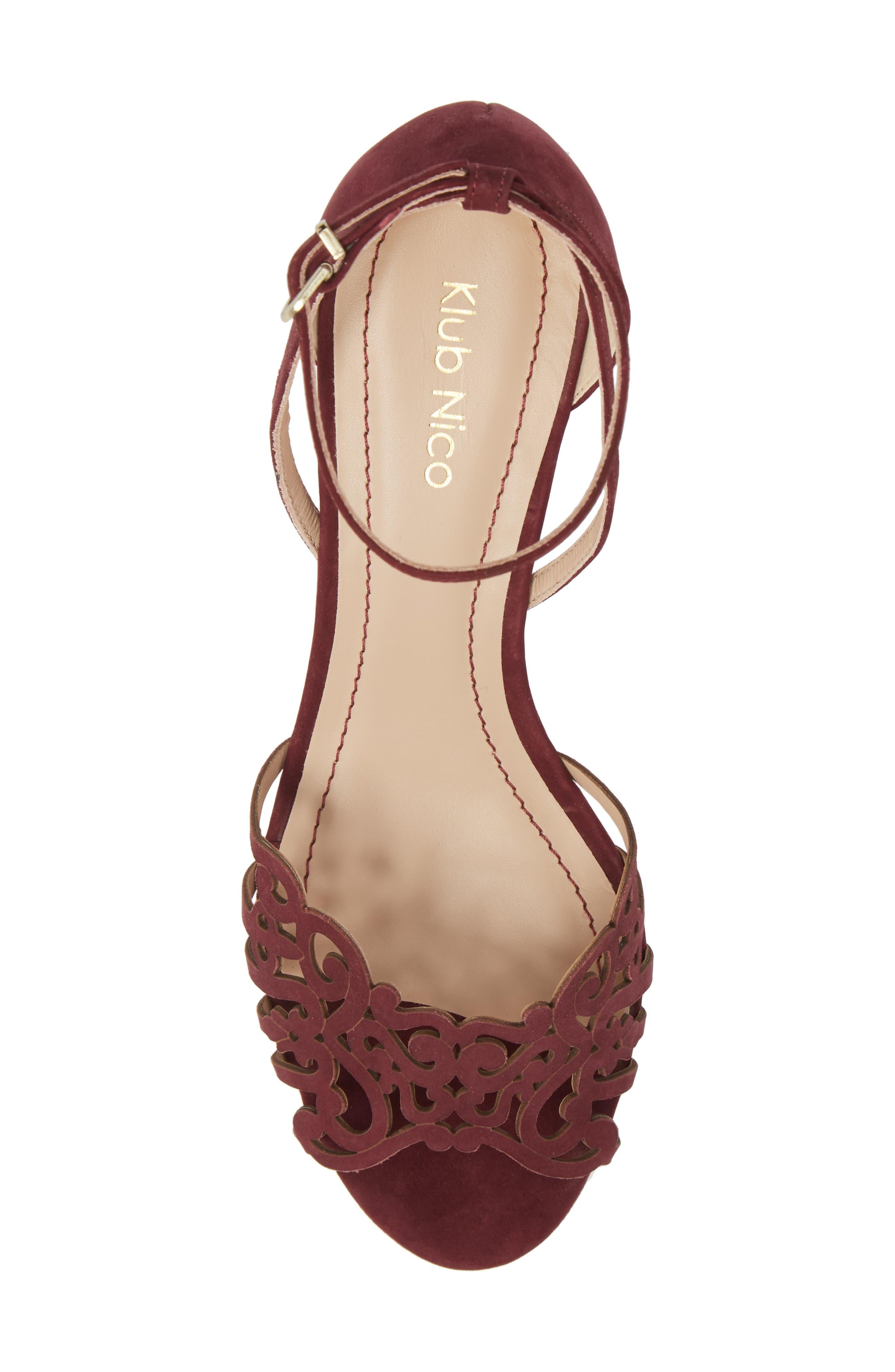KLUB NICO, 'Kingston' Ankle Strap Wedge Sandal, Alternate thumbnail 5, color, WINE LEATHER