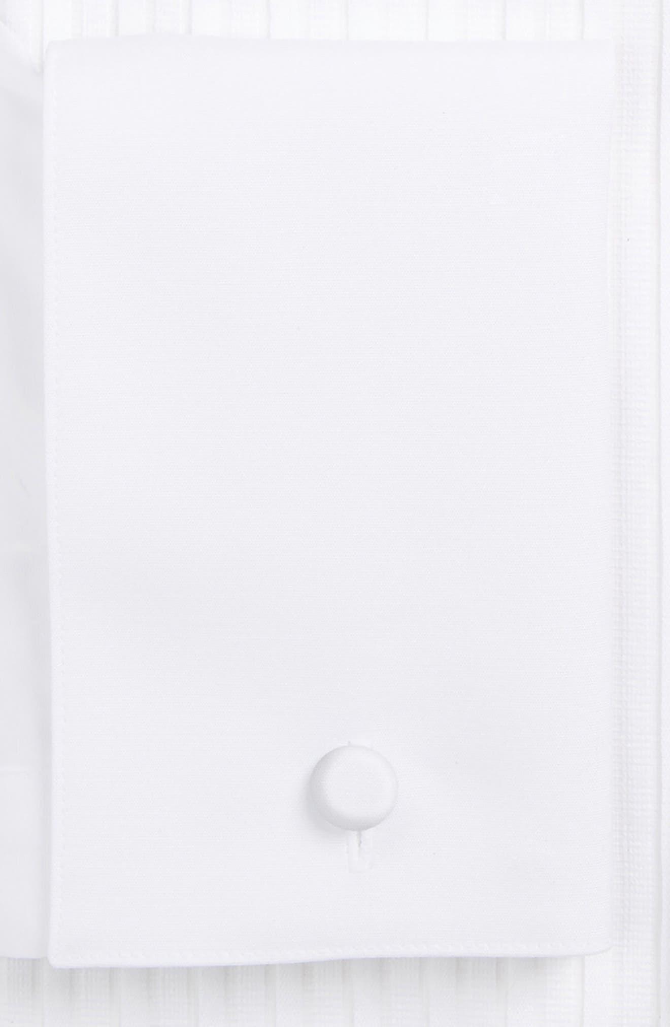 ETON, Slim Fit Pleated Bib Tuxedo Shirt, Alternate thumbnail 2, color, WHITE