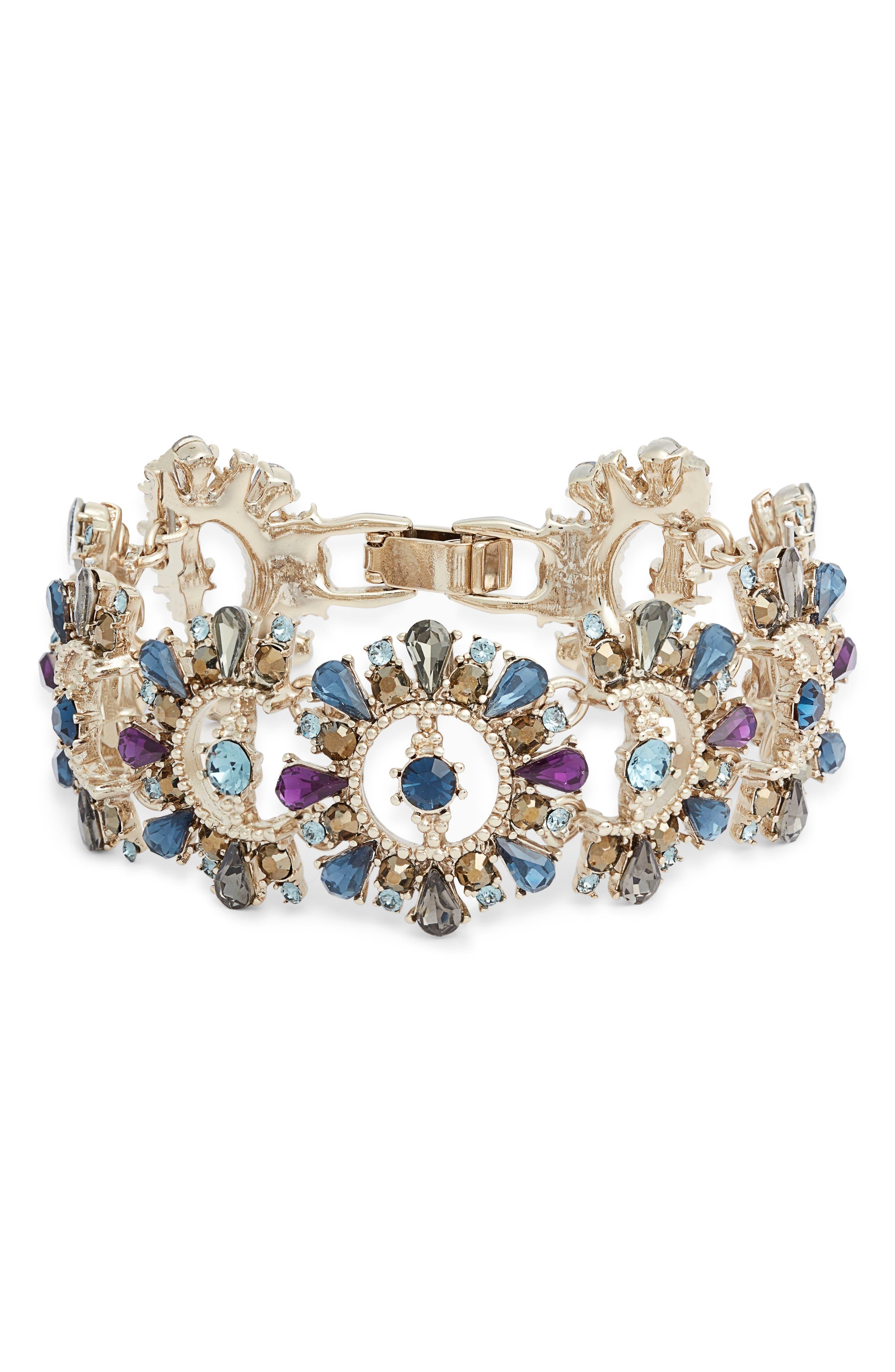 MARCHESA, Drama Crystal Bracelet, Main thumbnail 1, color, BLUE MULTI/ GOLD